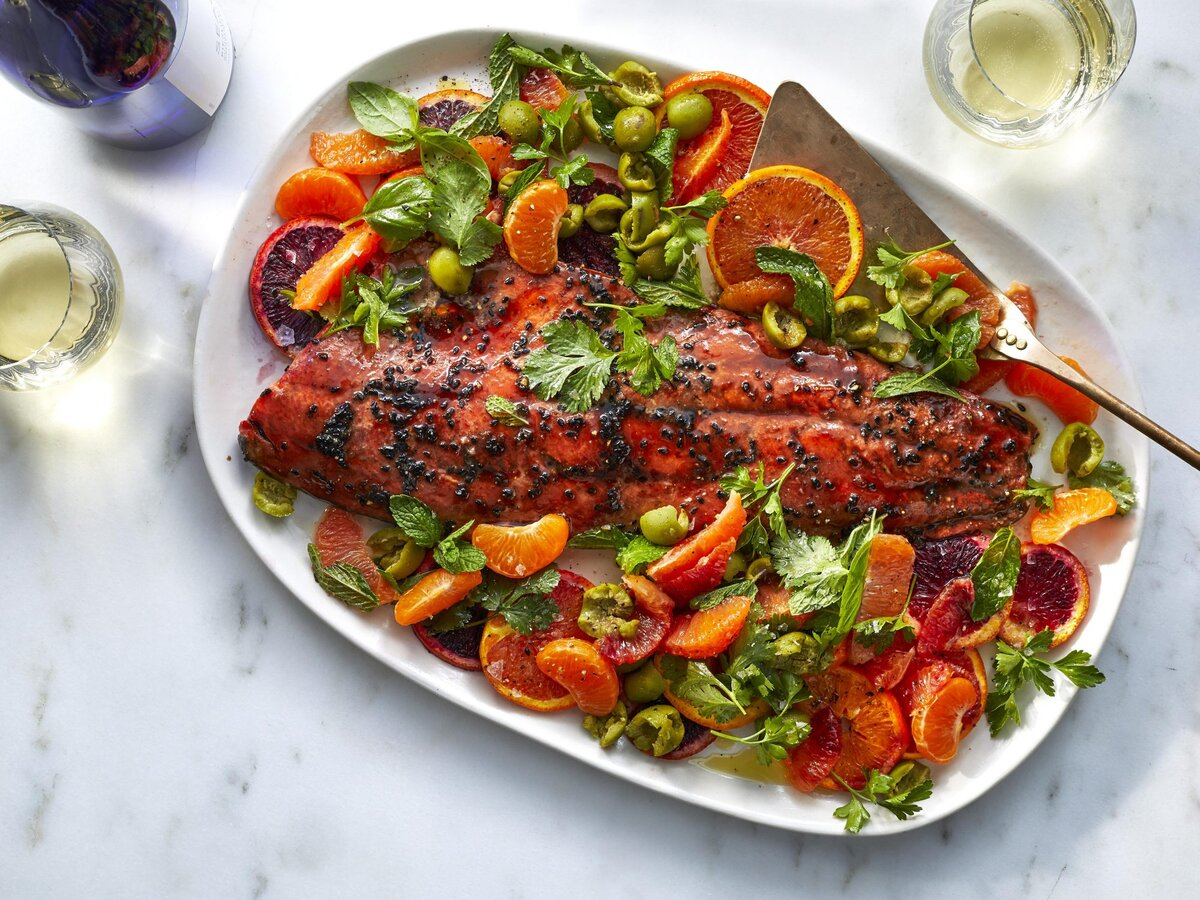 8                                                   of                                                   15                                                                                               Pomegranate-Glazed Salmon with Oranges, Olives, and Herbs