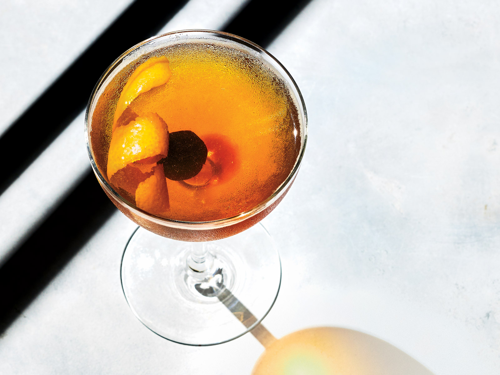 At San Francisco's Linden Room, Ron Boyd created a floral white vermouth featuring chamomile, dried artichokes, and coriander, which he stirs into his twist on the classic Rob Roy cocktail.