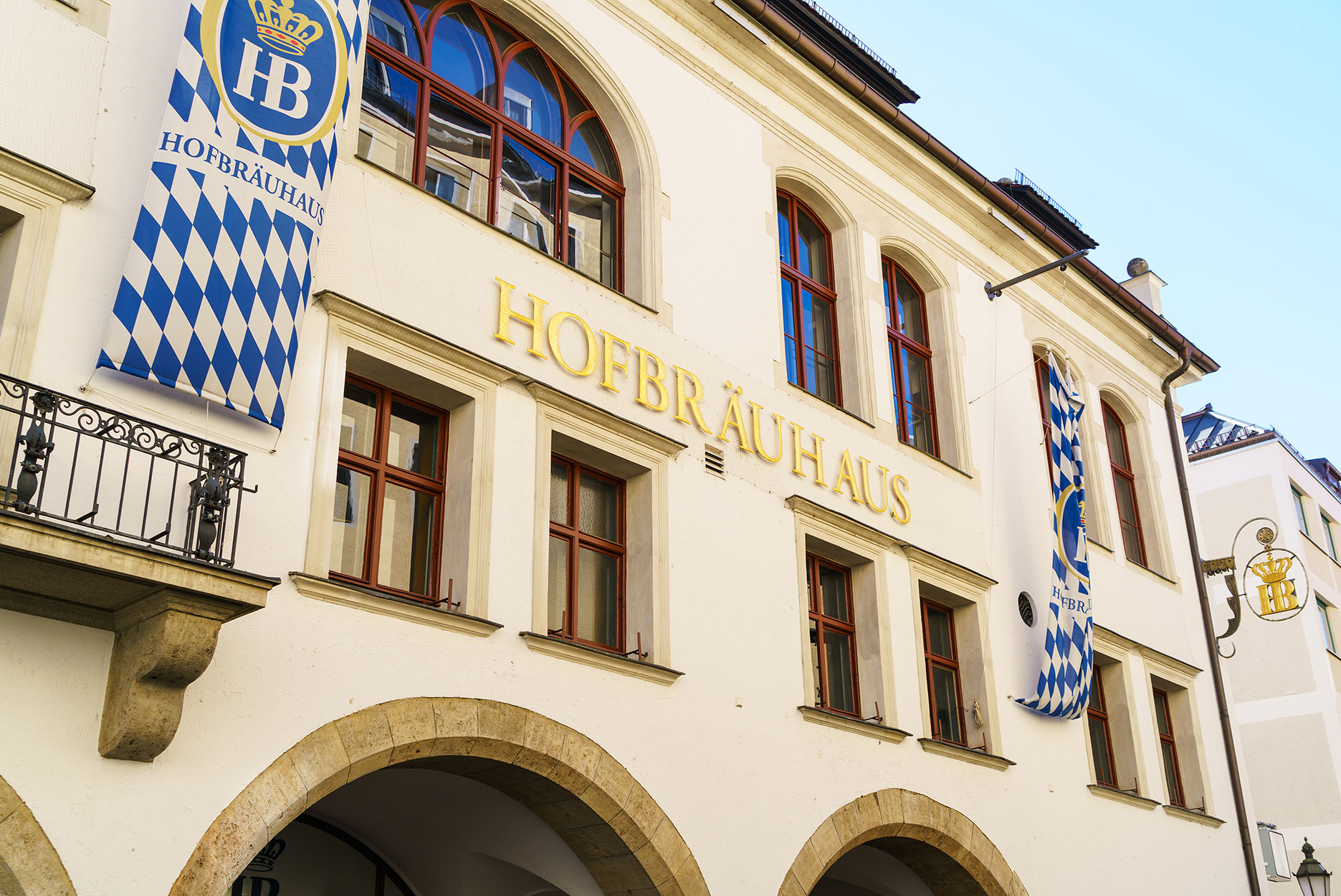 The exterior of Hofbrauhaus in Munich Germany