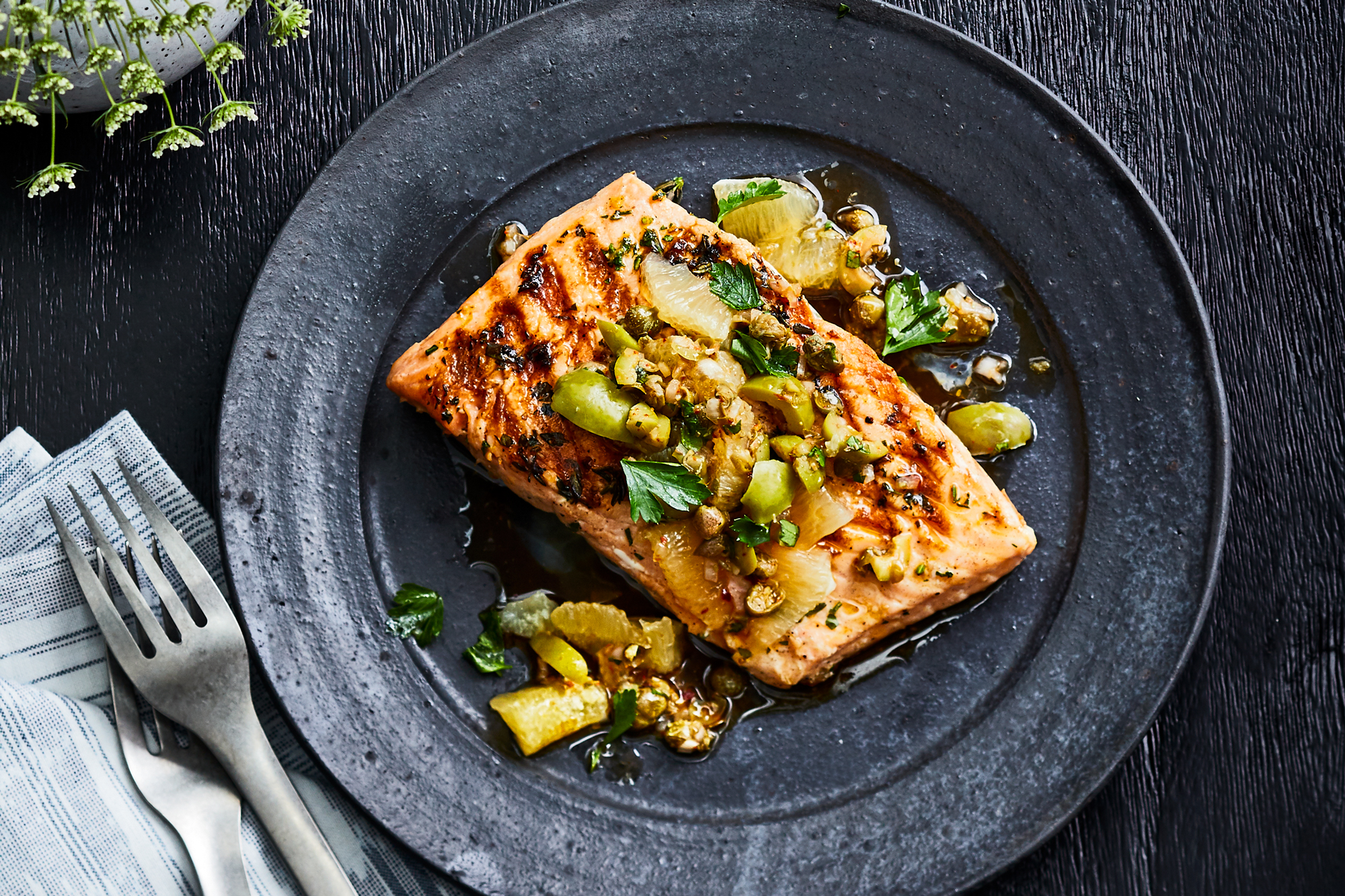 Grilled King Salmon with Meyer Lemon Relish
