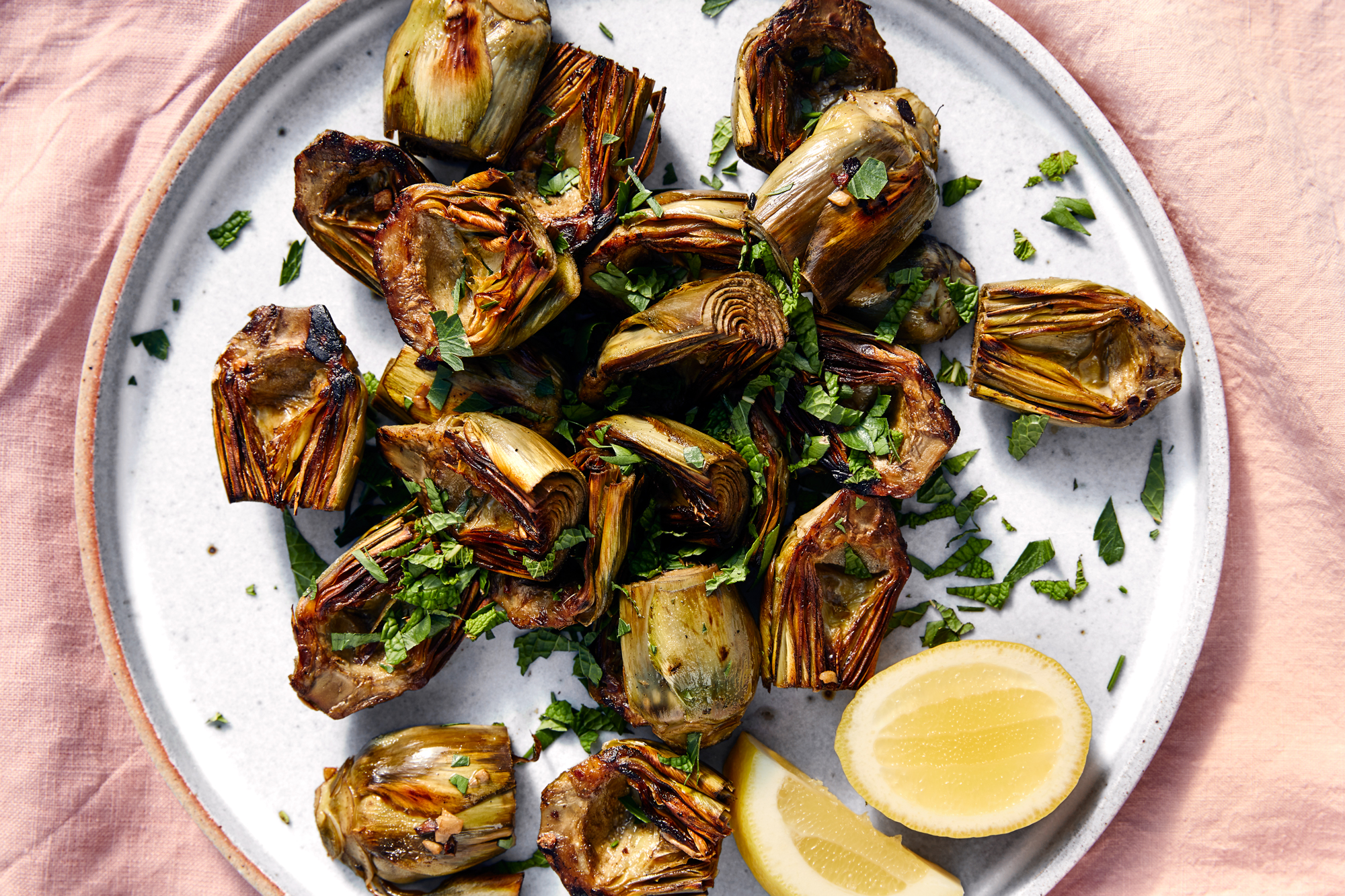 Roasted Baby Artichokes with Parsley and Mint Recipe