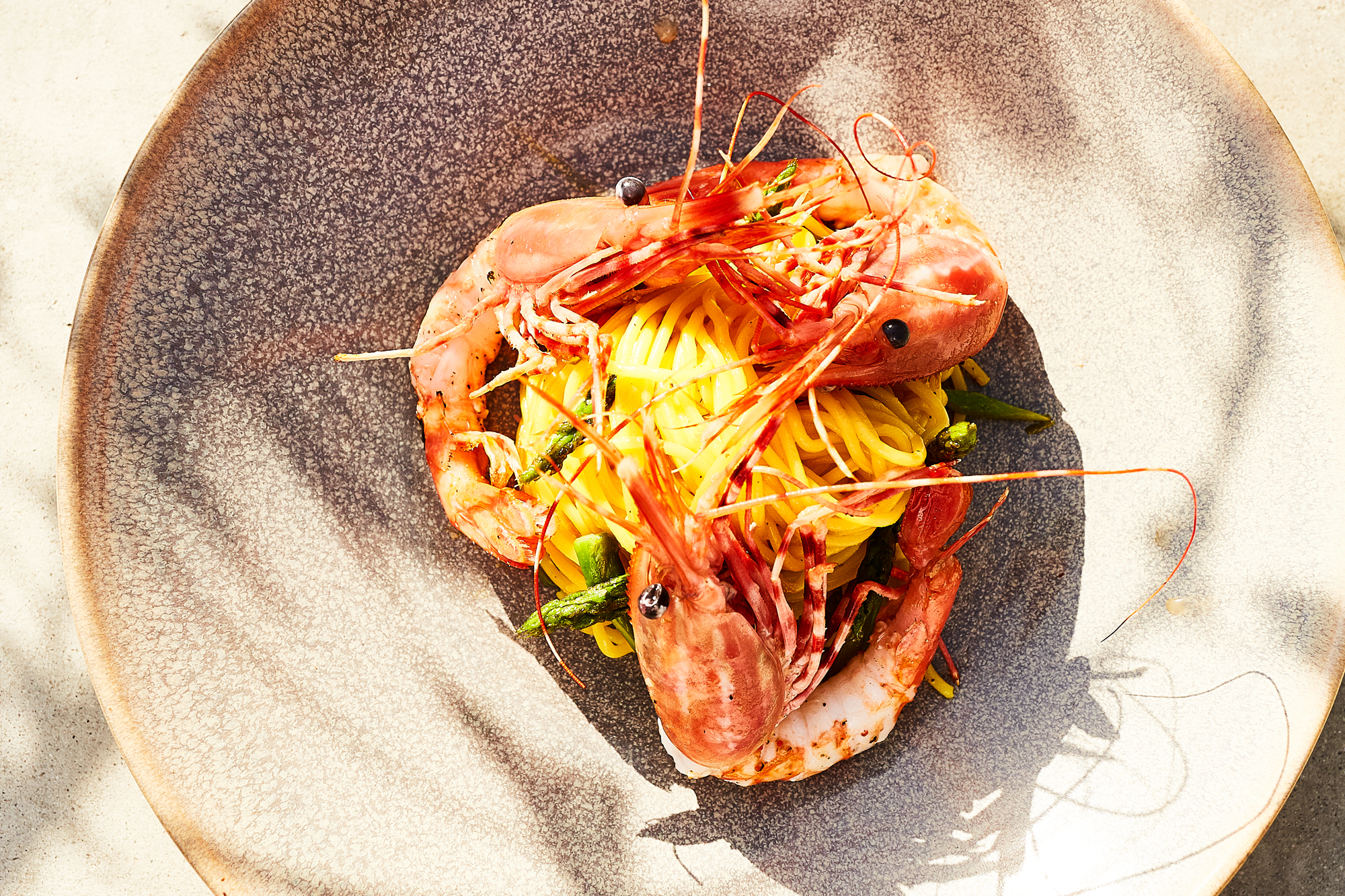 Saffron Spaghetti with Spot Prawns Recipe