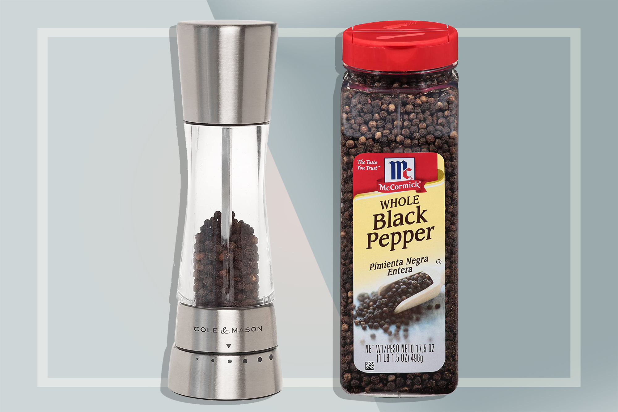 Essential Kitchen Spices | Whole Black Peppercorns and Peppermill