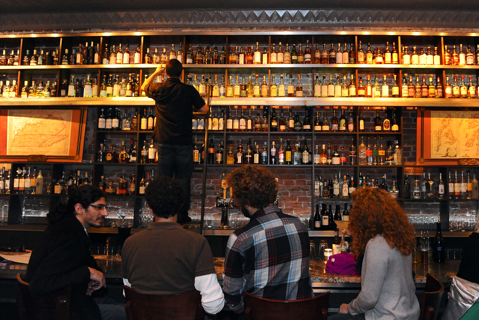 The bar at Jack Rose in Washington D.C. with its 1400 bottle whiskey collection
