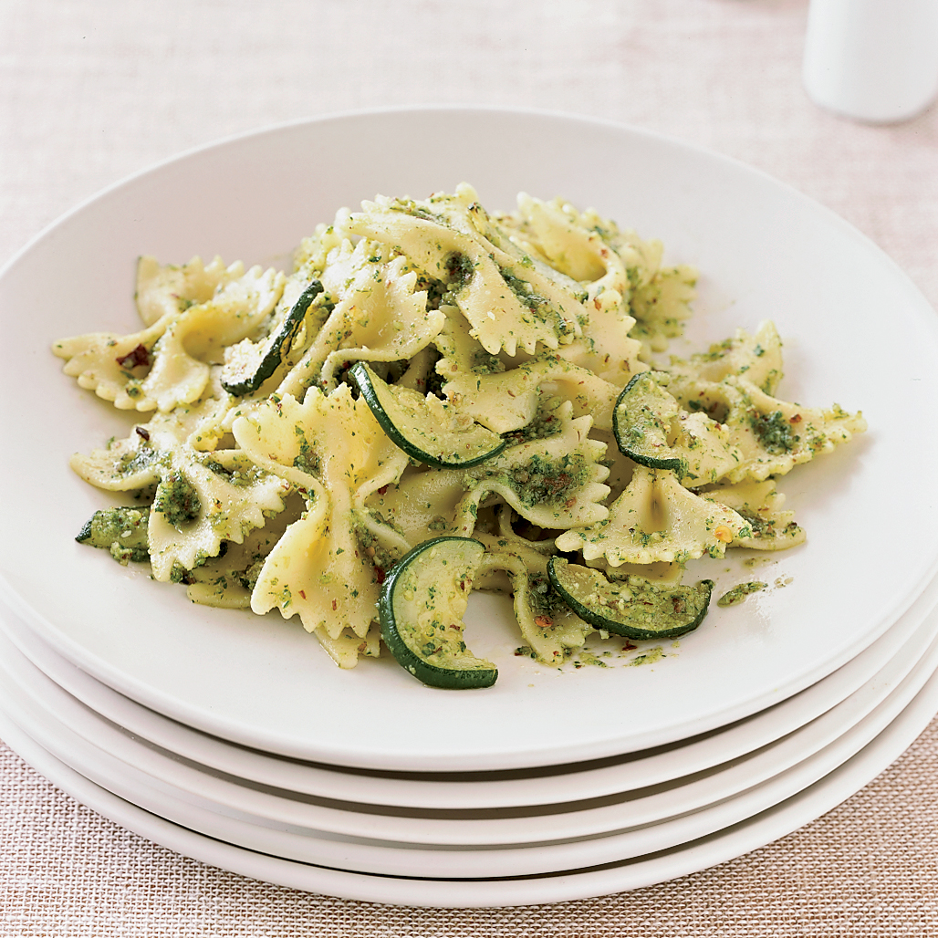 Farfalle with Zucchini and Parsley Almond Pesto