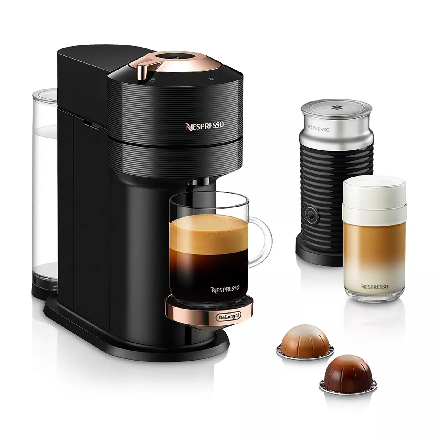 Nespresso Vertuo Next Premium Coffee and Espresso Maker by DeLonghi with Aeroccino Milk Frother, Black Rose Gold