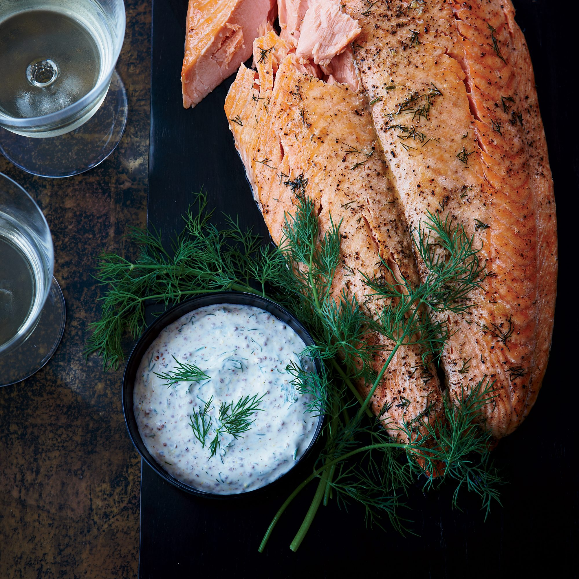 whole salmon fillet with mustard sauce