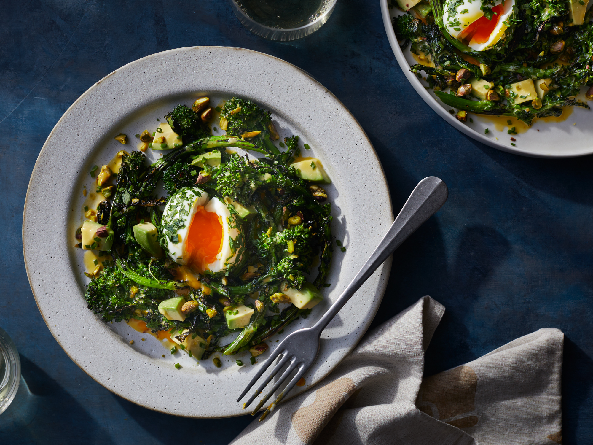 Broccoli Rabe and Avocado Salad with Lemon Dressing and Herby Molten Eggs