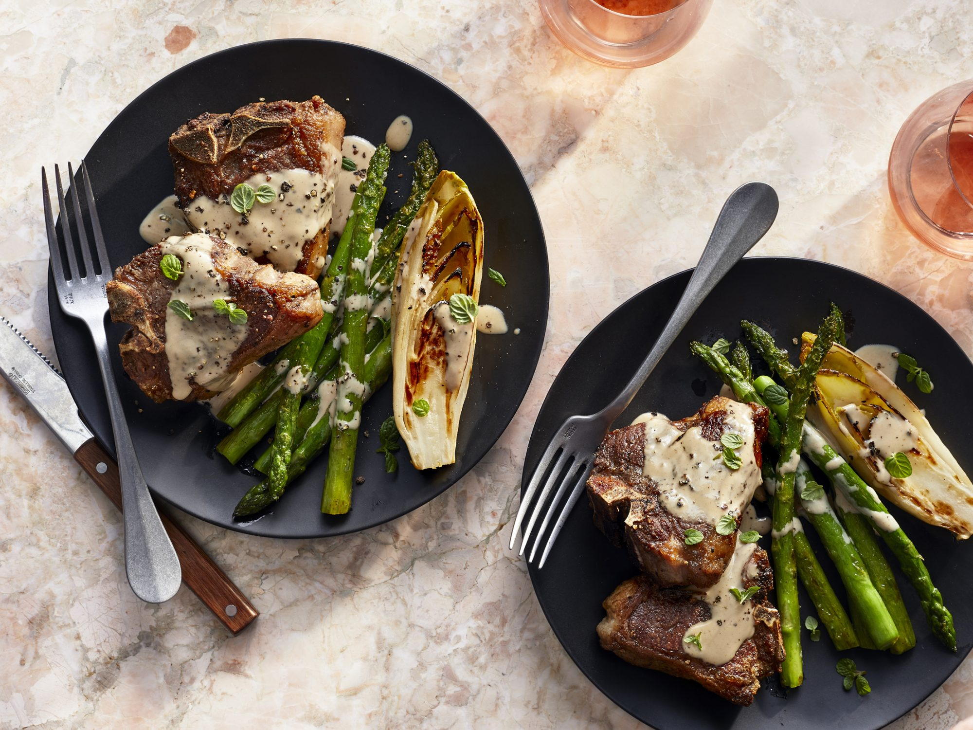 Seared Lamb Chops with Seared Endive, Asparagus, and Tahini Dressing