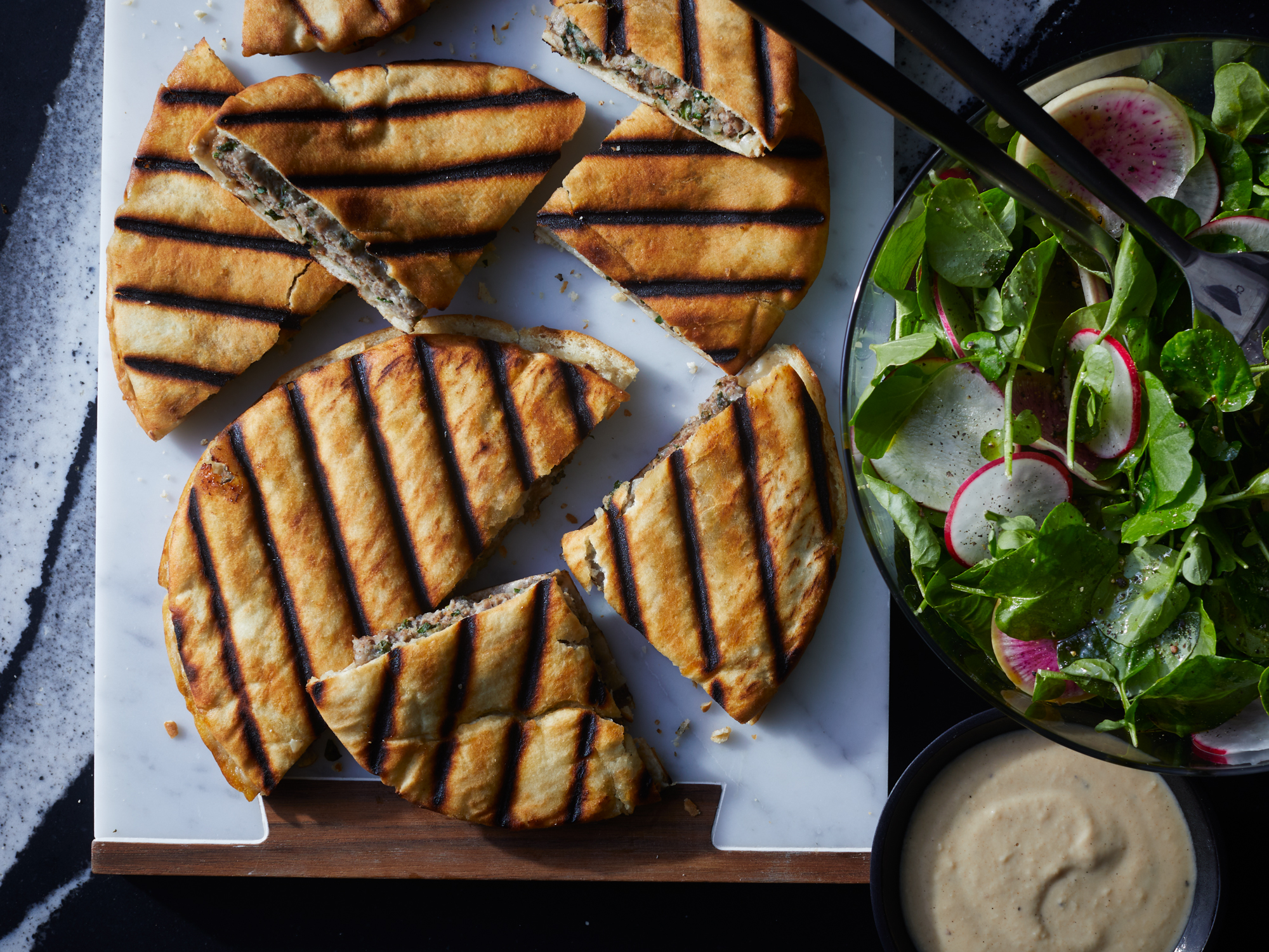 Crispy Grilled Lamb Pitas with Radish-Watercress Salad