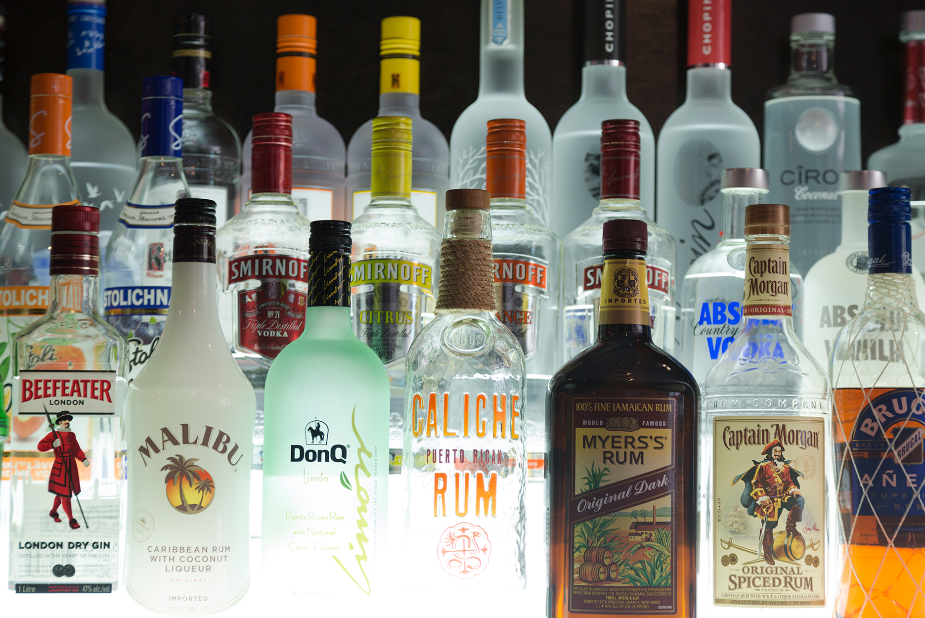 Various bottles of US and international spirits