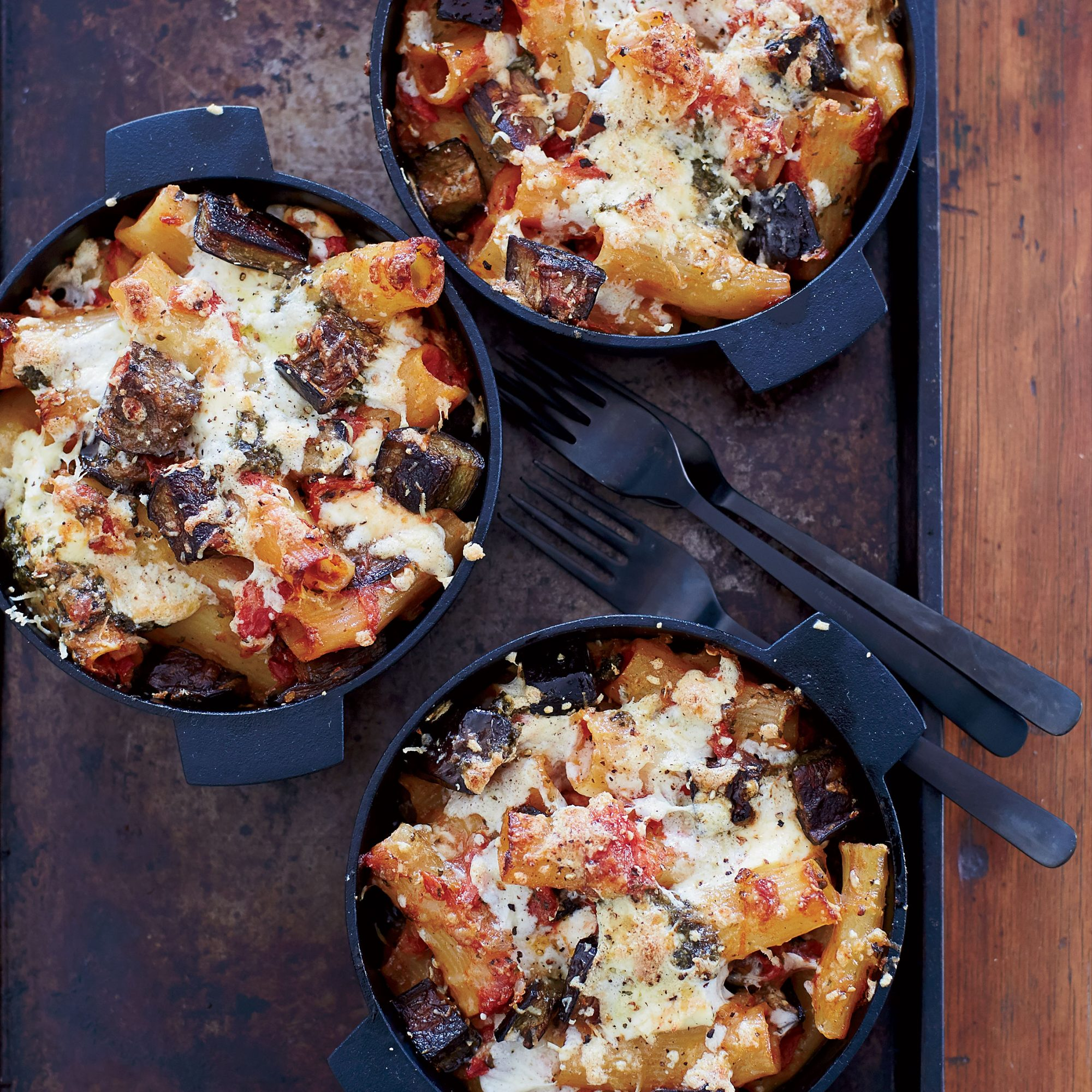 """There is no more comforting food in the world than a bubbly pasta dish straight from the oven,"" says chef Jonathan Waxman. He replaces the béchamel in this traditional baked pasta with lush eggplant. To make the recipe even healthier, he suggests using whole-wheat pasta."