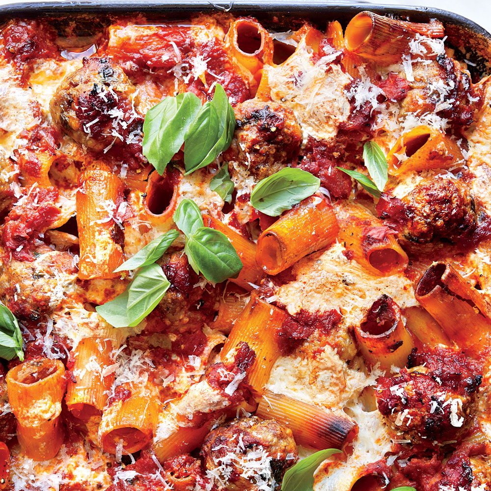 Shortcut Baked Rigatoni with Meatballs