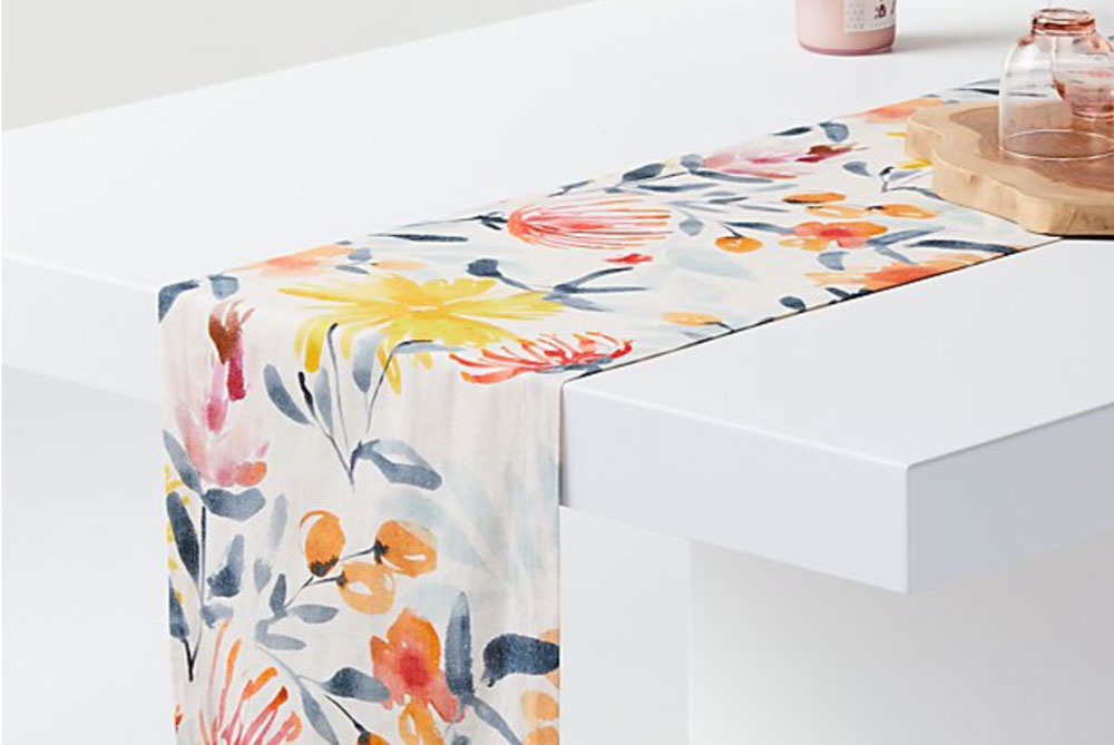 crate and barrel floral table runner
