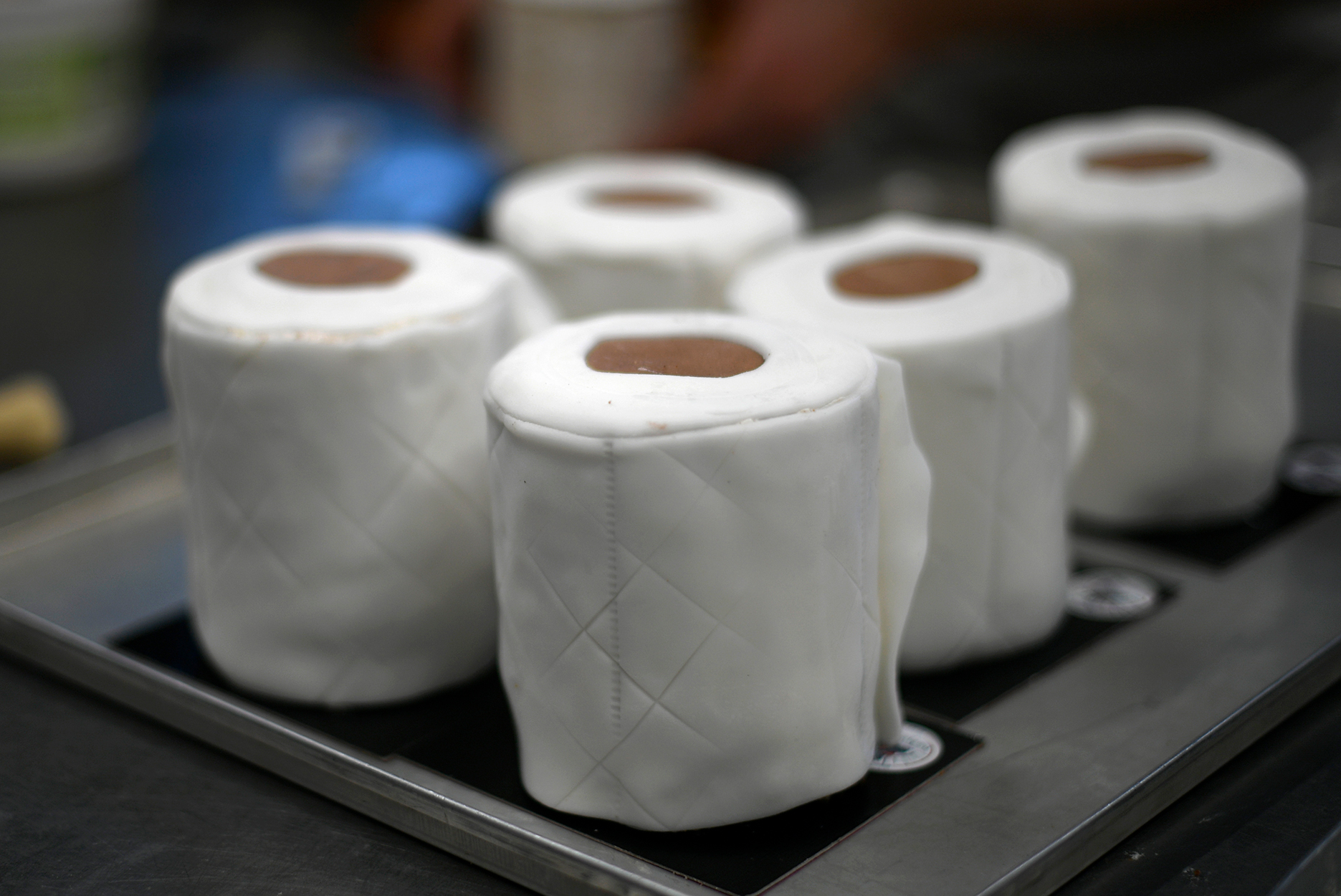 Cakes made to look like toilet paper in Germany