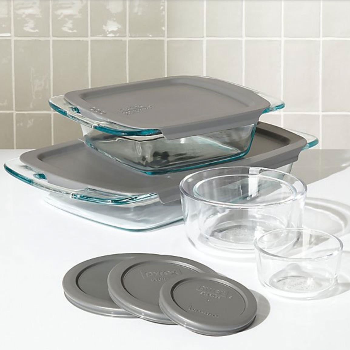Pyrex glass containers and baking dishes