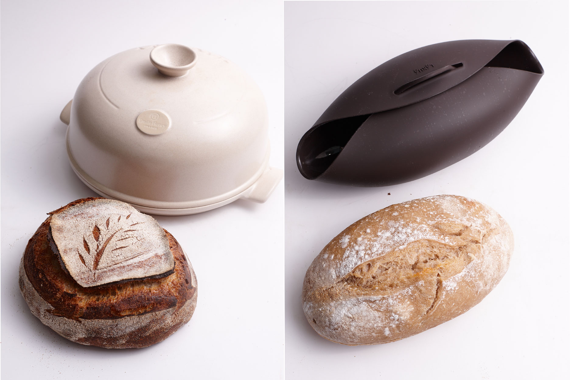 emile henry and silicone bread cloche
