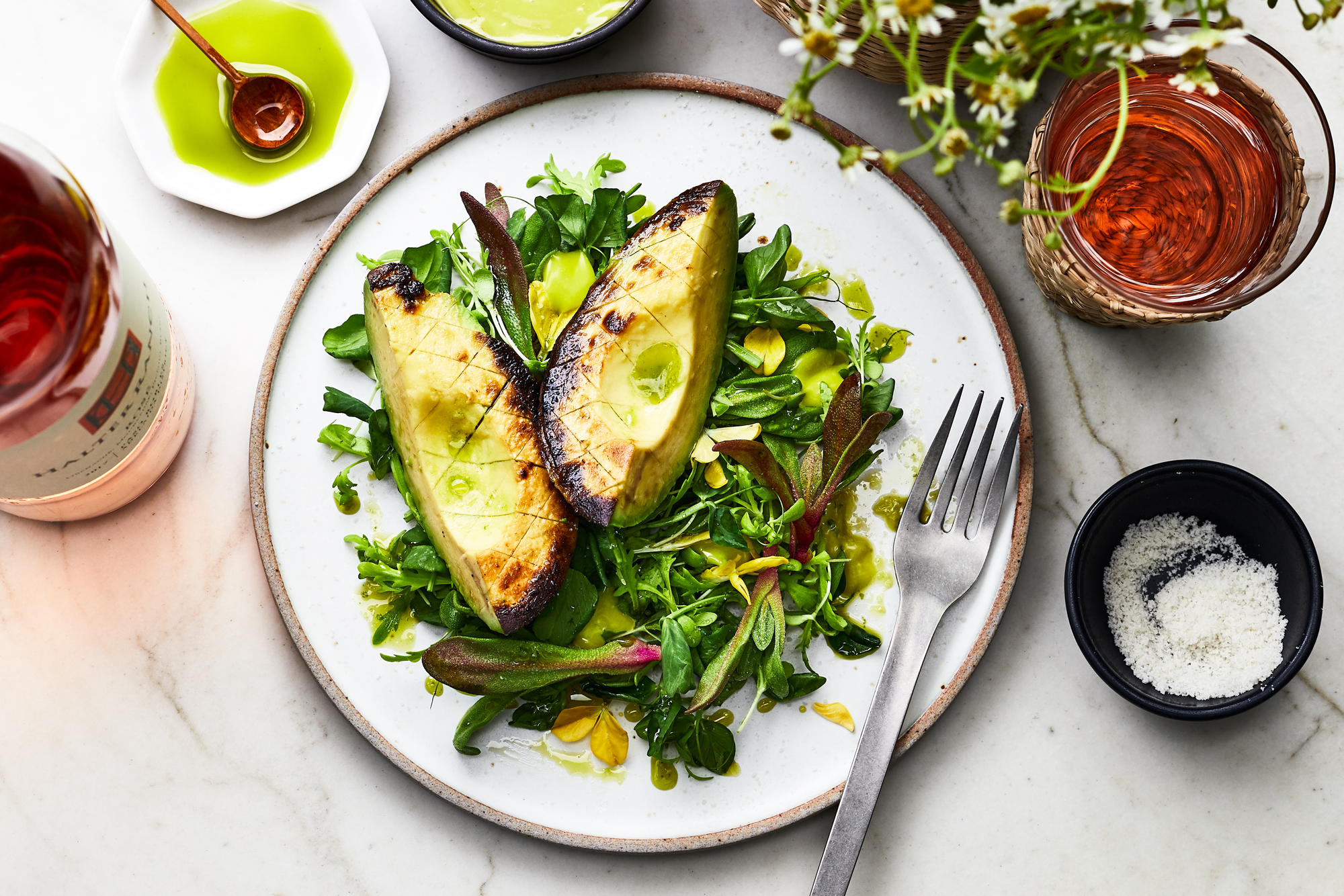 Charred Avocado Salad with Cilantro Mayo Recipe