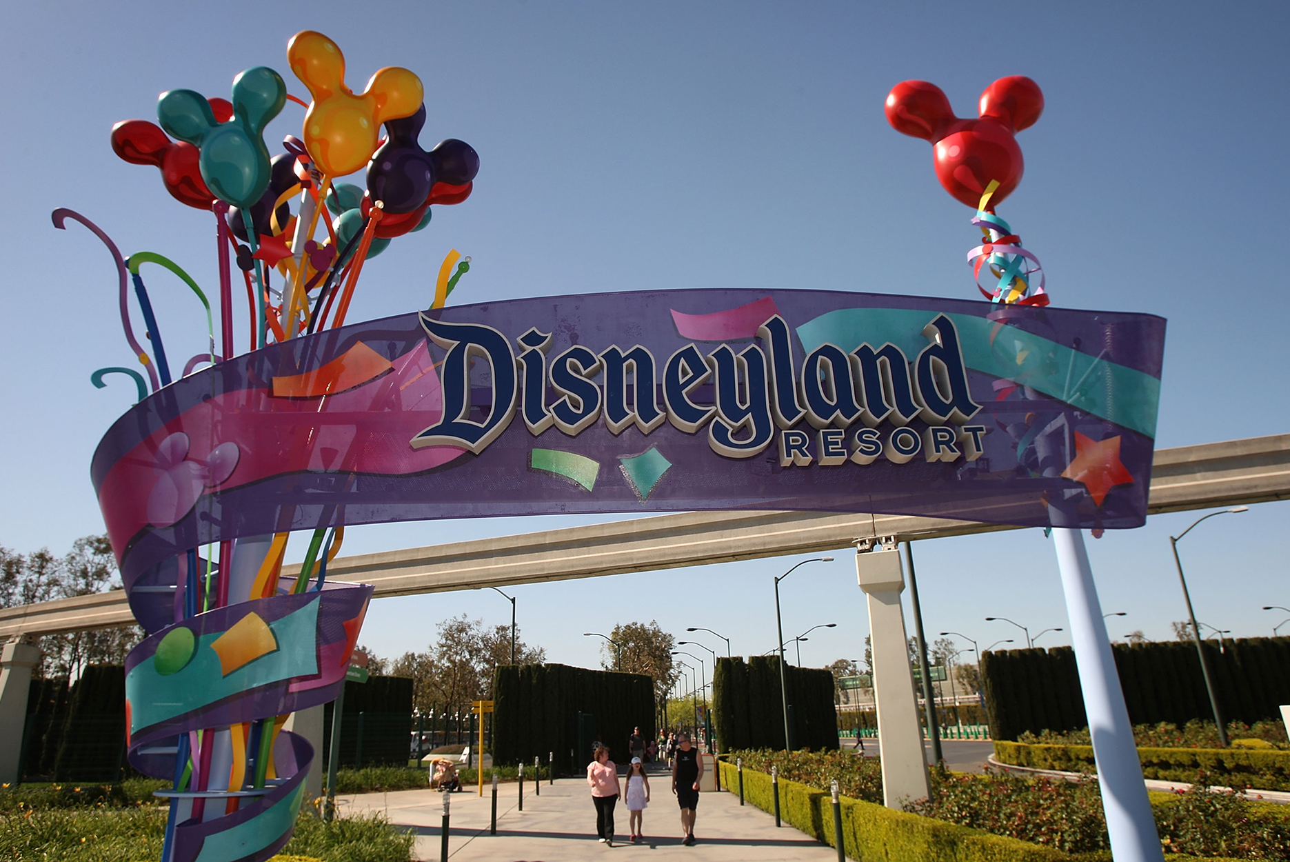 The entrance to the Disneyland Resort in Anaheim, CA.