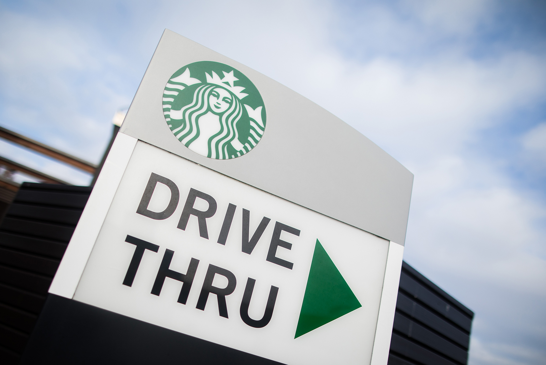 A Starbucks drive thru sign