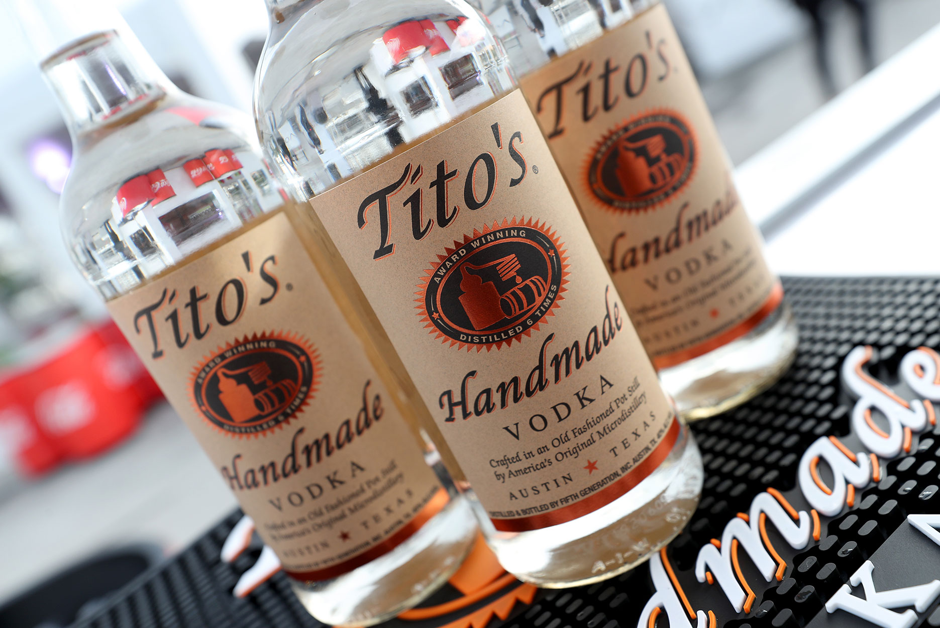 Bottles of Tito's vodka