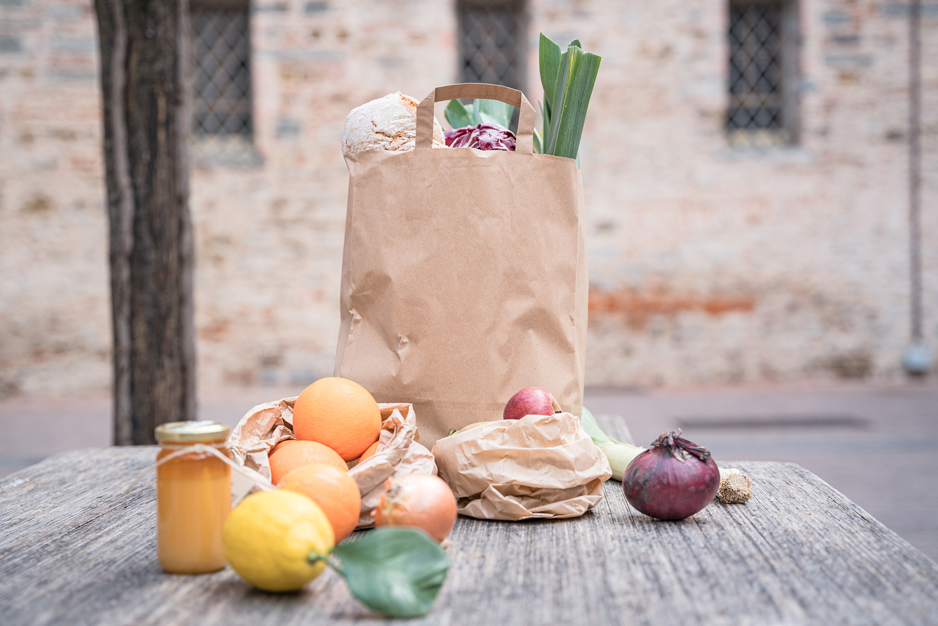 farm-to-table fruits and vegetables in a paper bag ready to be delivered at home