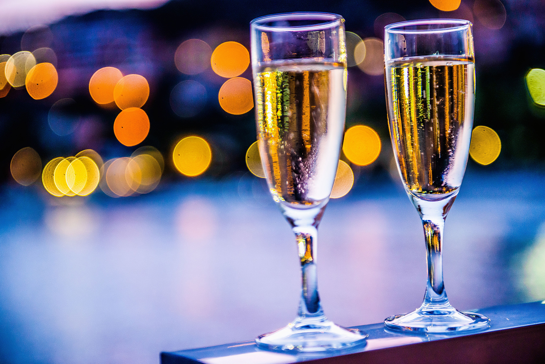 Champagne flute and night atmosphere