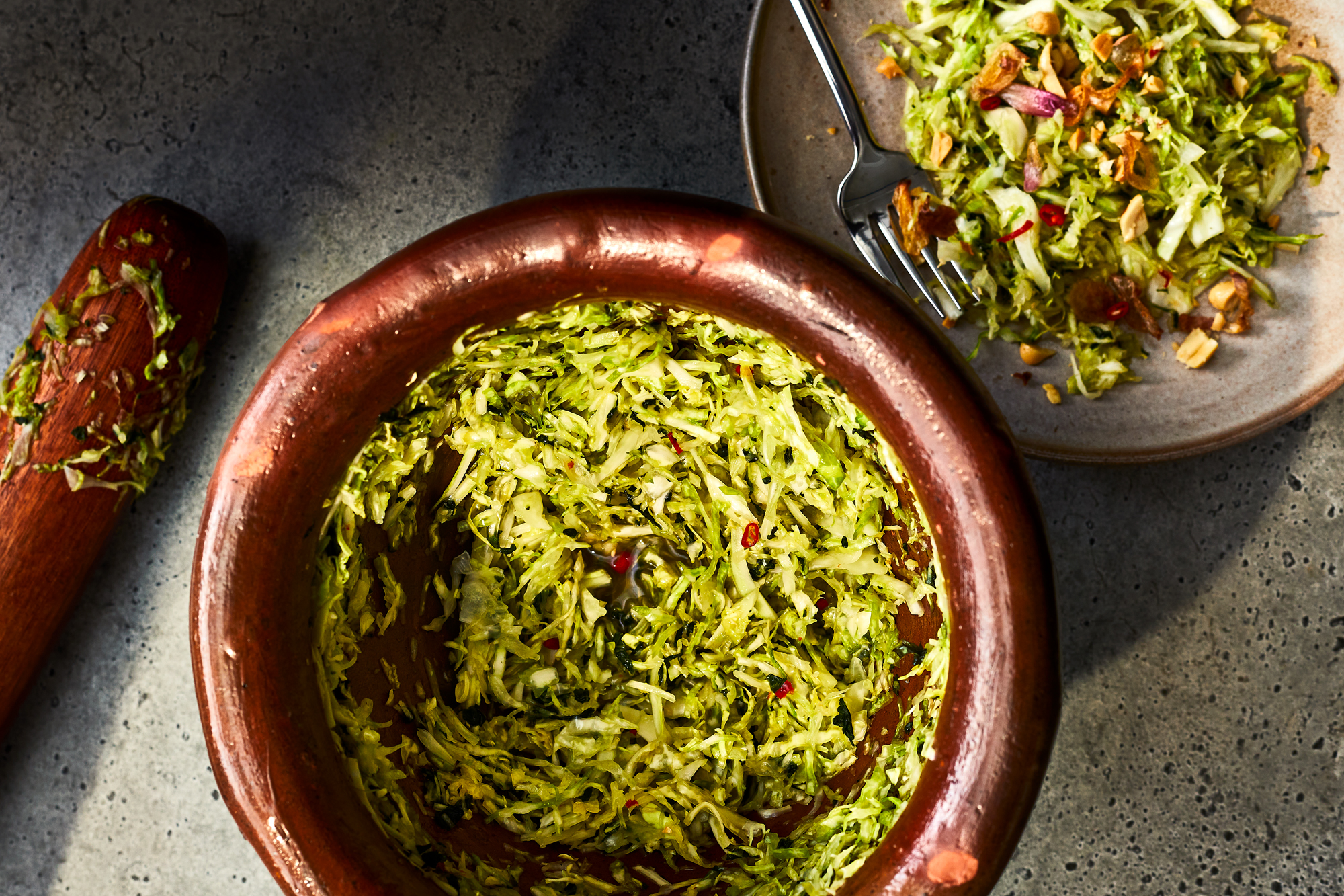 Bruised Cabbage and Herb Salad with Spicy Fish Sauce Dressing Recipe