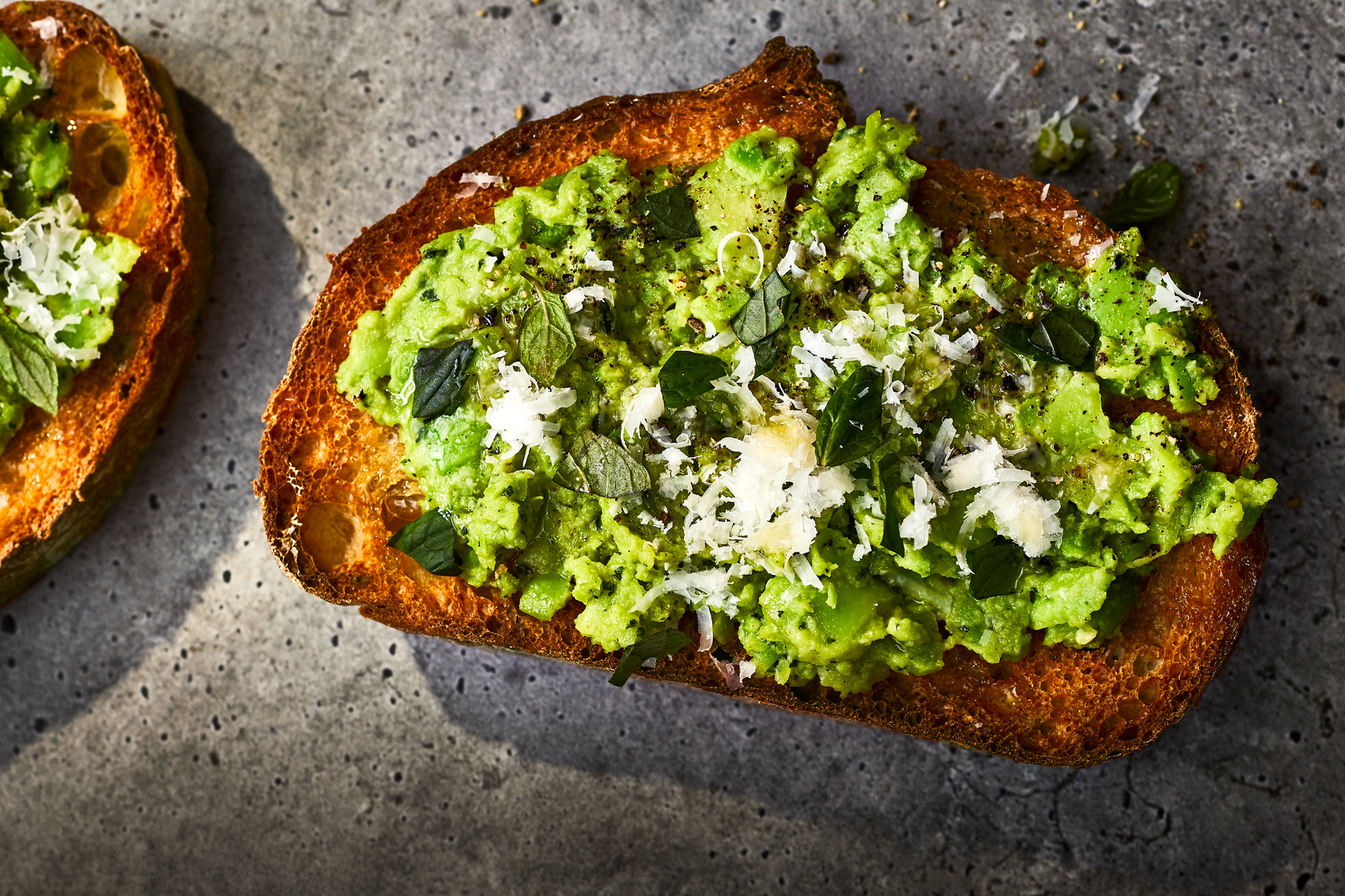 Smashed Fava Beans Toast with Pecorino and Mint Recipe