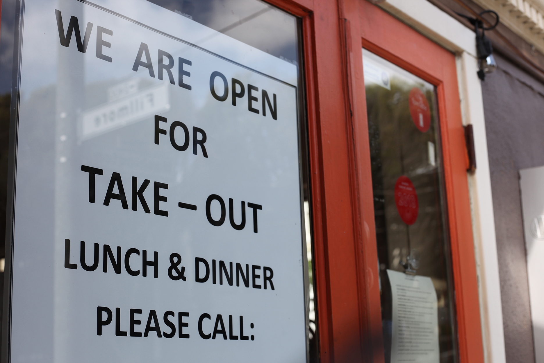 We Are Open for Take-Out sign during shelter in place in San Francisco