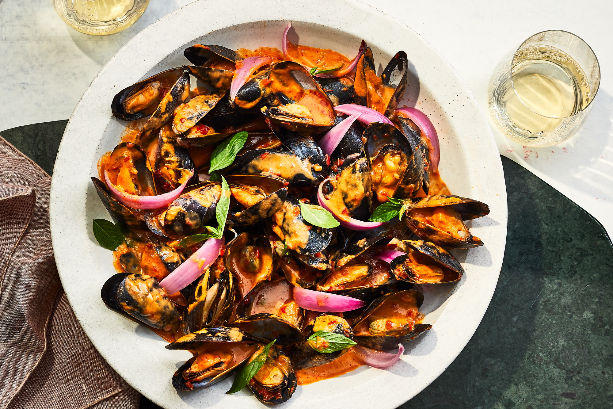 Mussels with Harissa and Basil Recipe