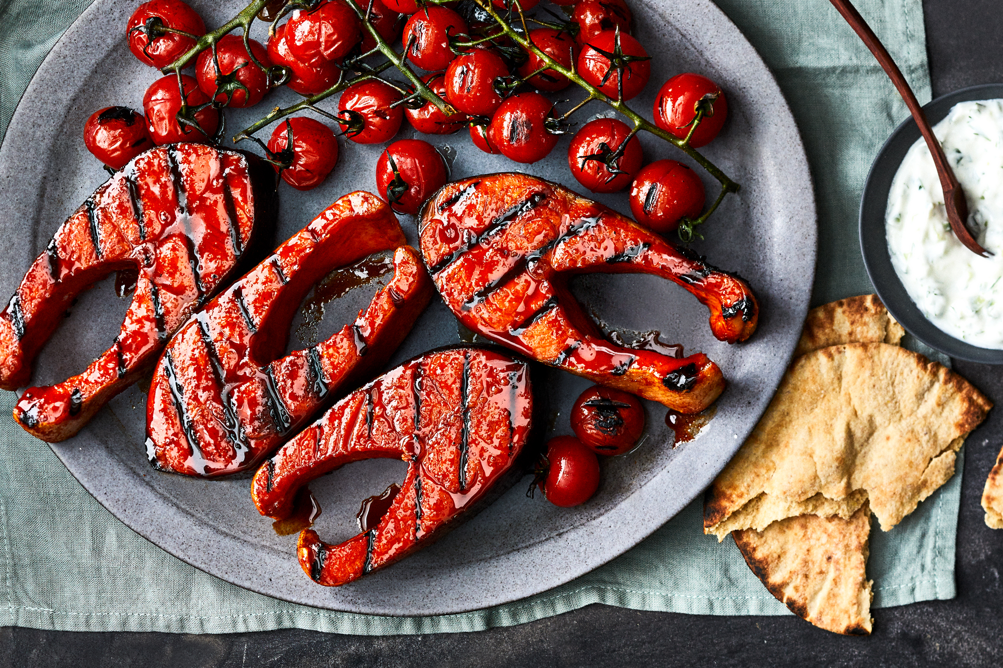 Quick-Cured Salmon Steaks with Grilled Tomatoes and Tzatziki Recipe