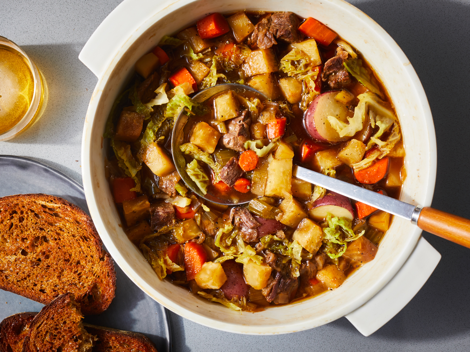 Pretty much everything goes into one pot in this hearty stew recipe; a few hours later a meal ideal for the depths of winter emerges.