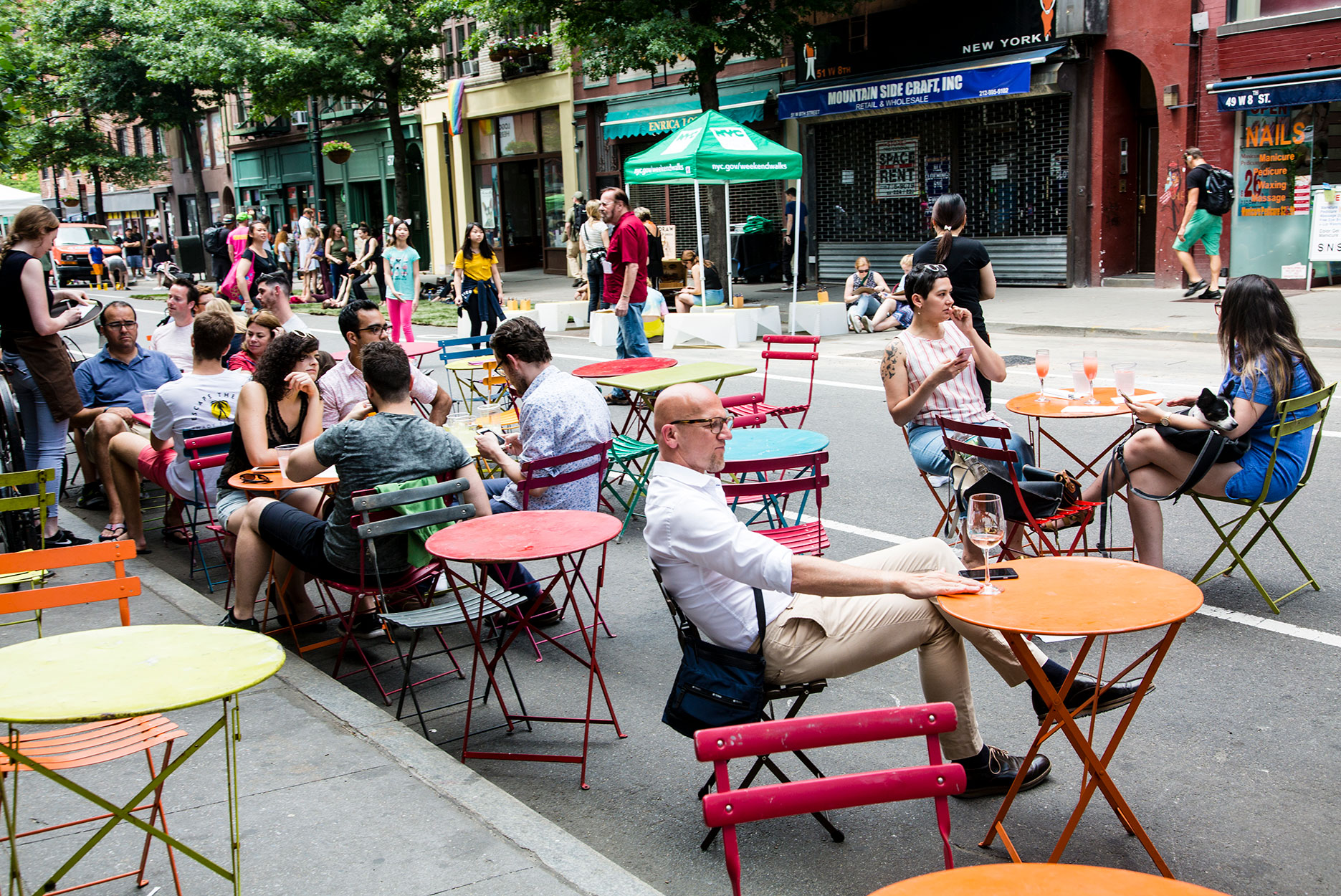 People drinking at outdoor bar, Greenwich Village, Manhattan, New York City, New York, United States