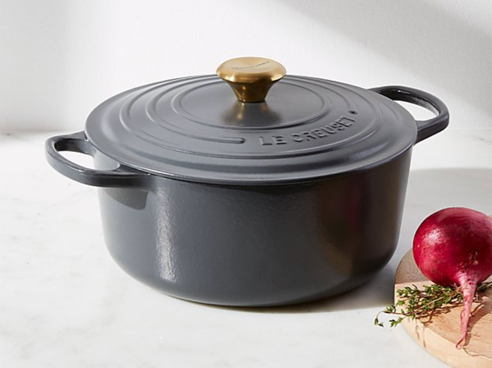 Le Creuset dutch oven in graphite grey on sale at crate & barrel