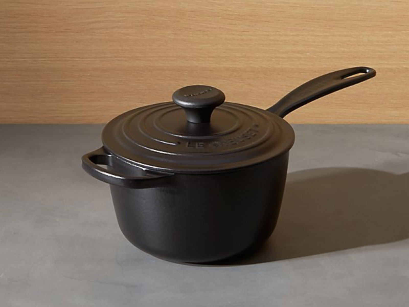 Le Creuset saucepan in licorice on sale at crate & Barrel
