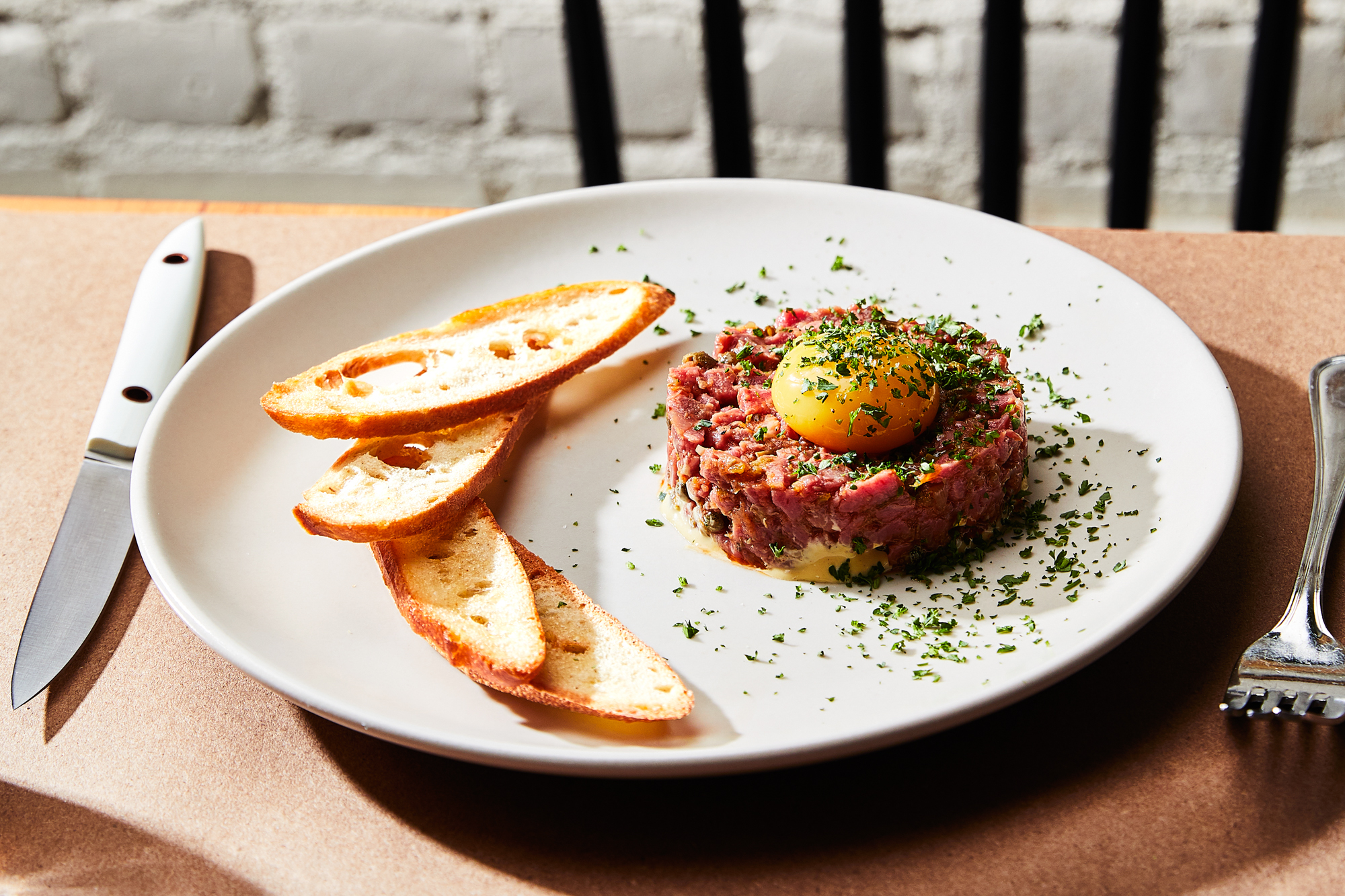 Beef Tenderloin Tartare with Anchovy-Cornichon Vinaigrette Recipe