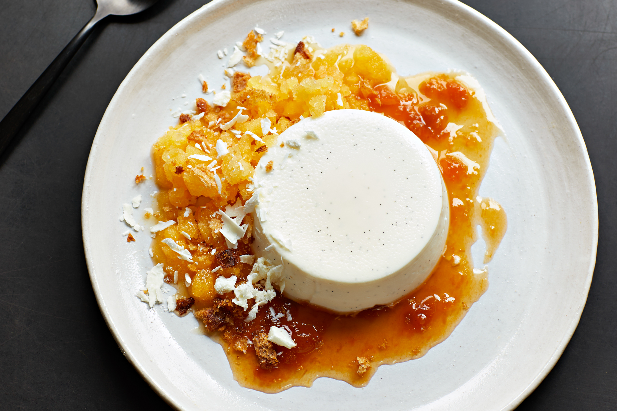 Labneh Panna Cotta with Orange Blossom Granita Recipe