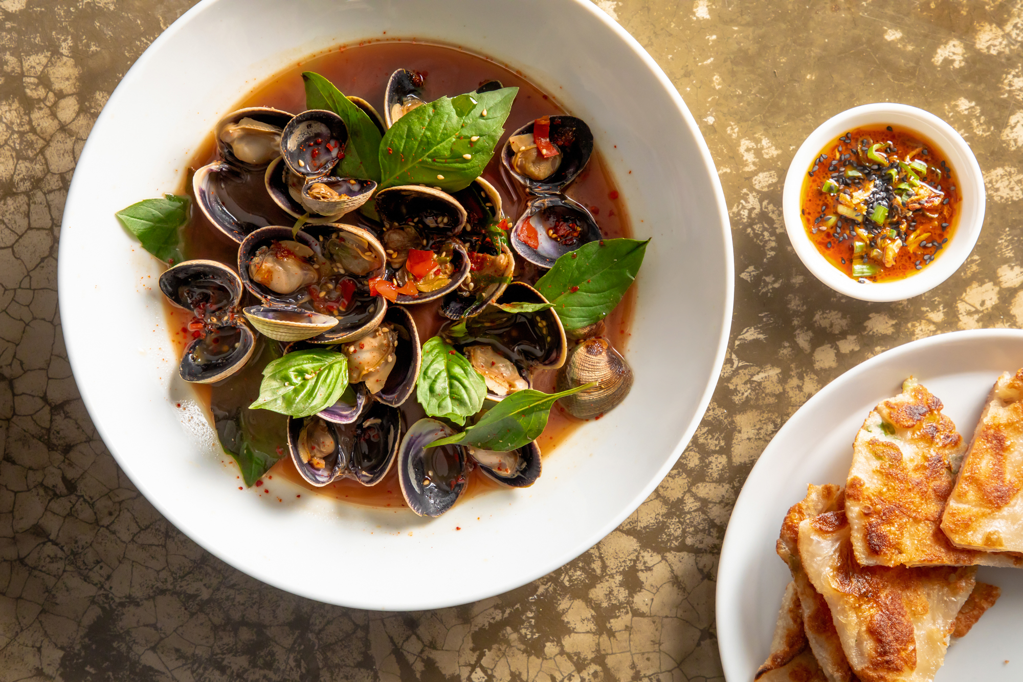 Manila Clams with Shiro Dash and Basil Recipe