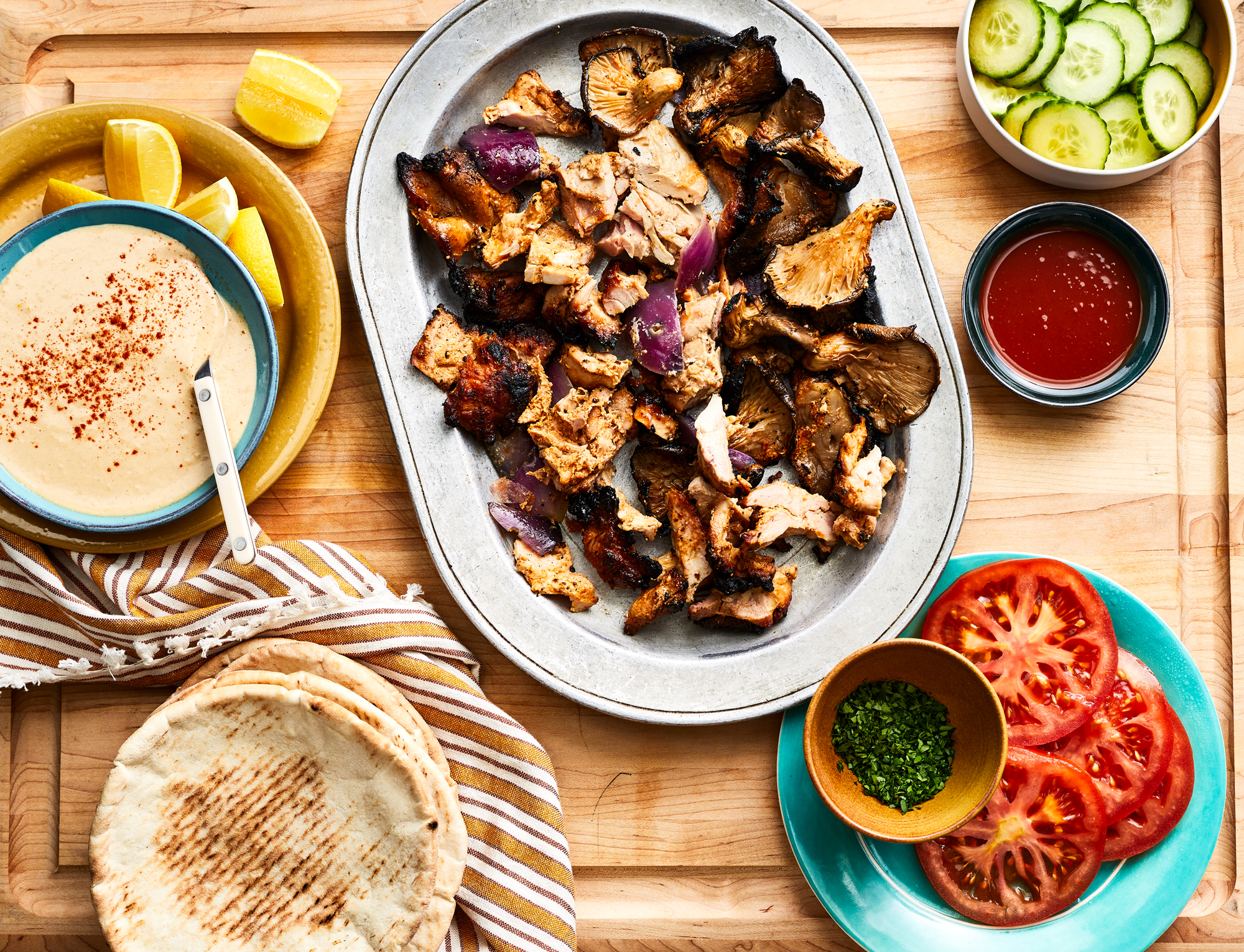 Shawarma Style Chicken and Mushroom Kebabs Recipe
