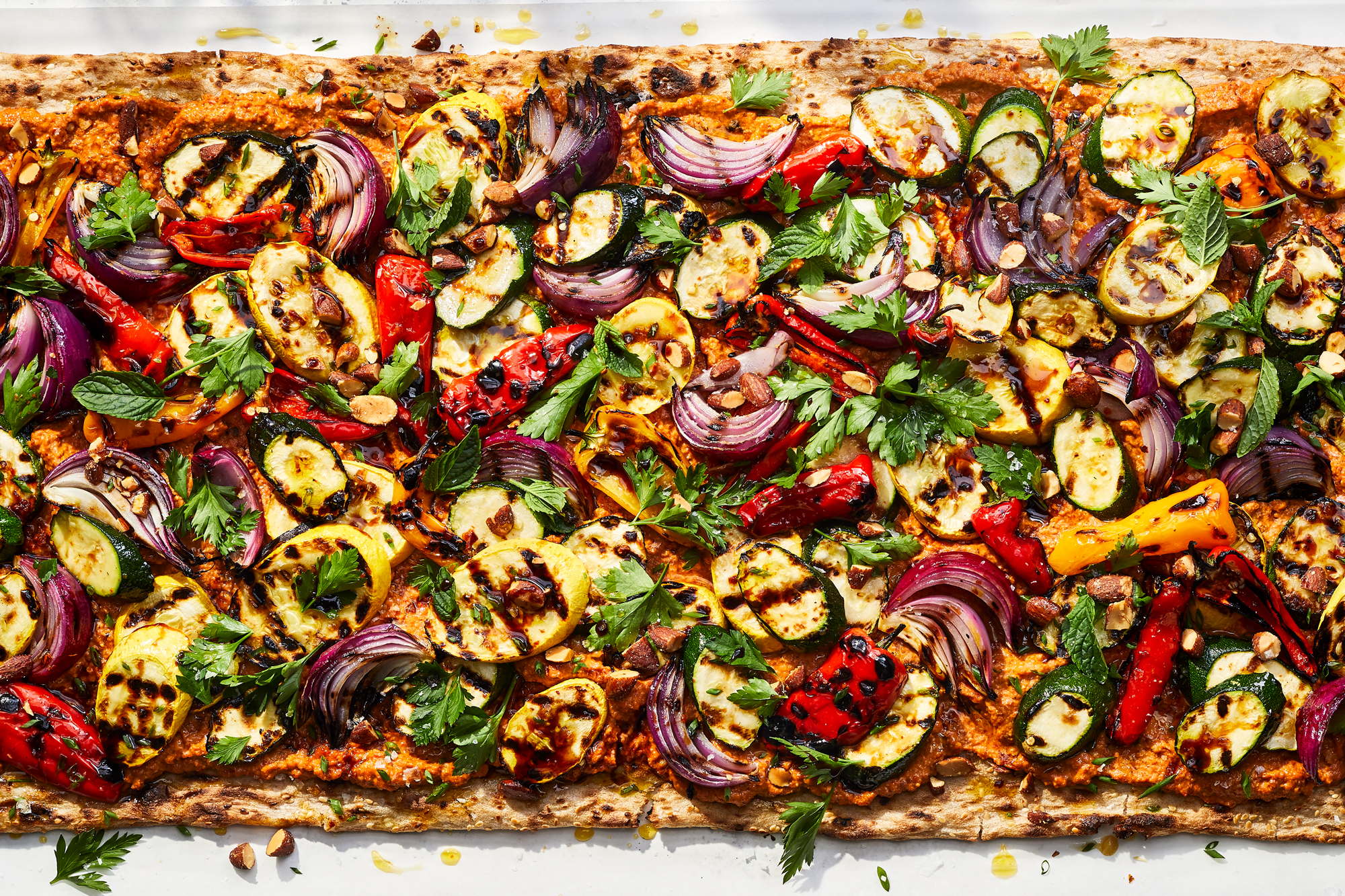 Grilled Vegetable Flatbread with Smoked Almond Muhammara Recipe