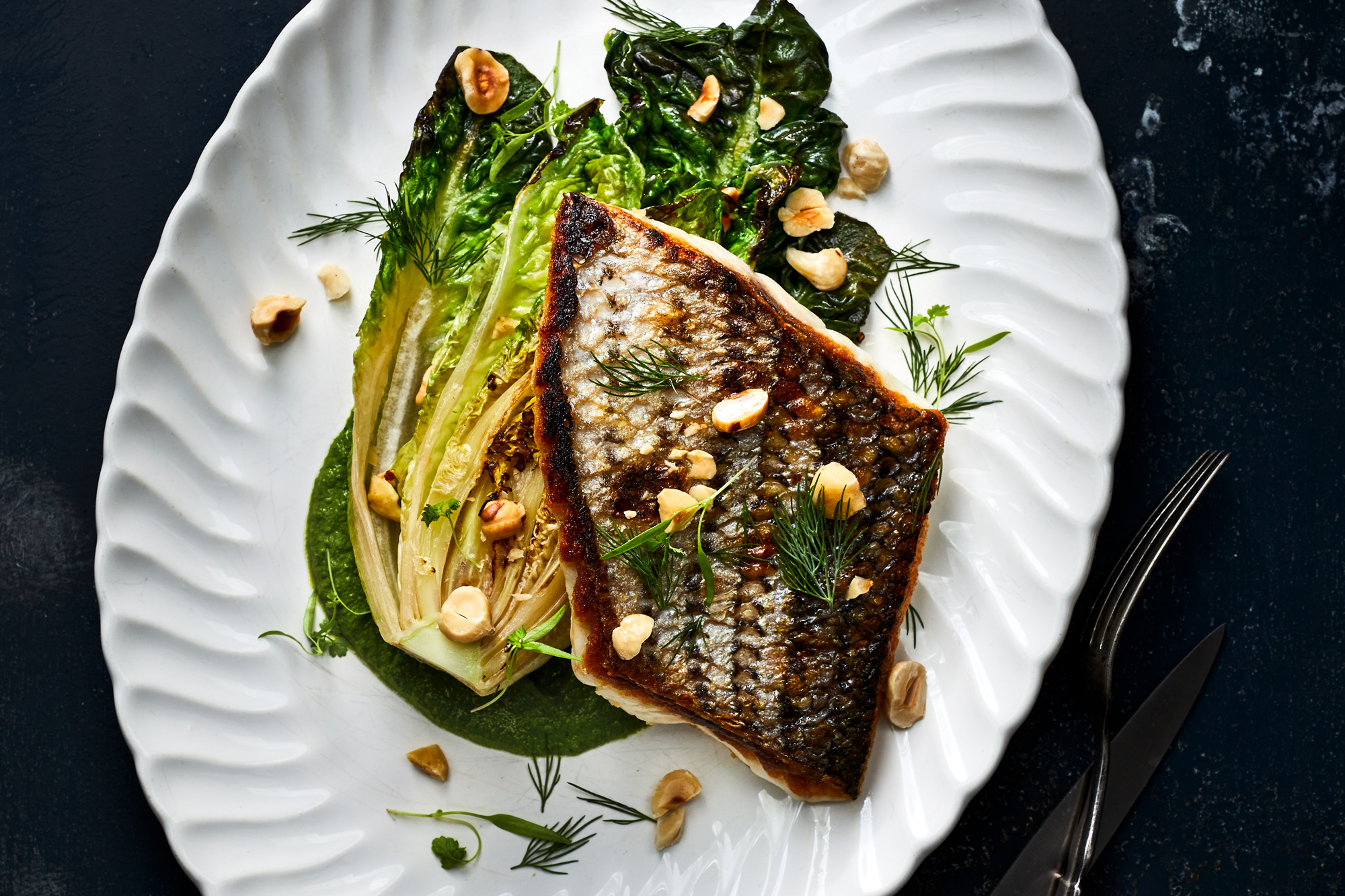 Crispy-Skinned Bass with Braised Lettuce and Green Goddess Dressing