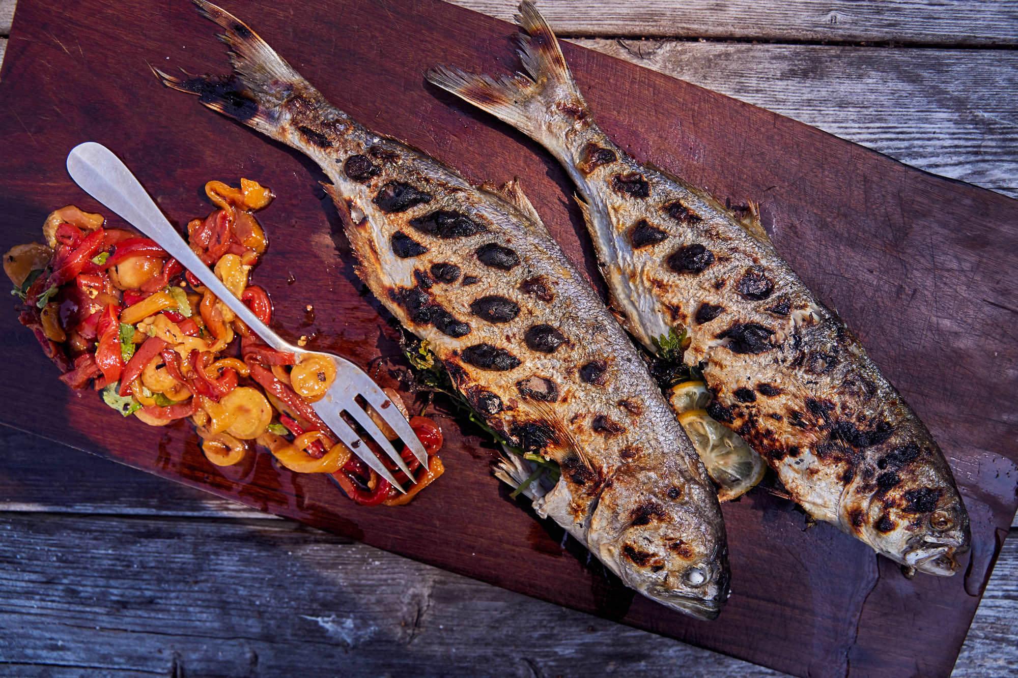 Grilled Bluefish with Charred Cherries and Peppers Recipe