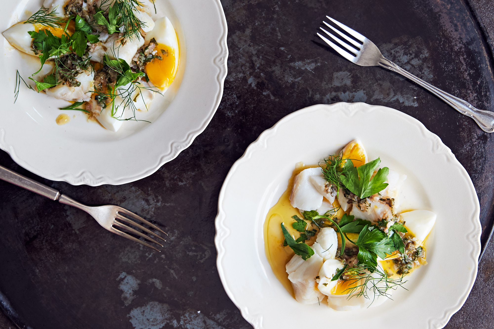 Warm Cod Salad with Tarragon Sauce and Boiled Eggs Recipe