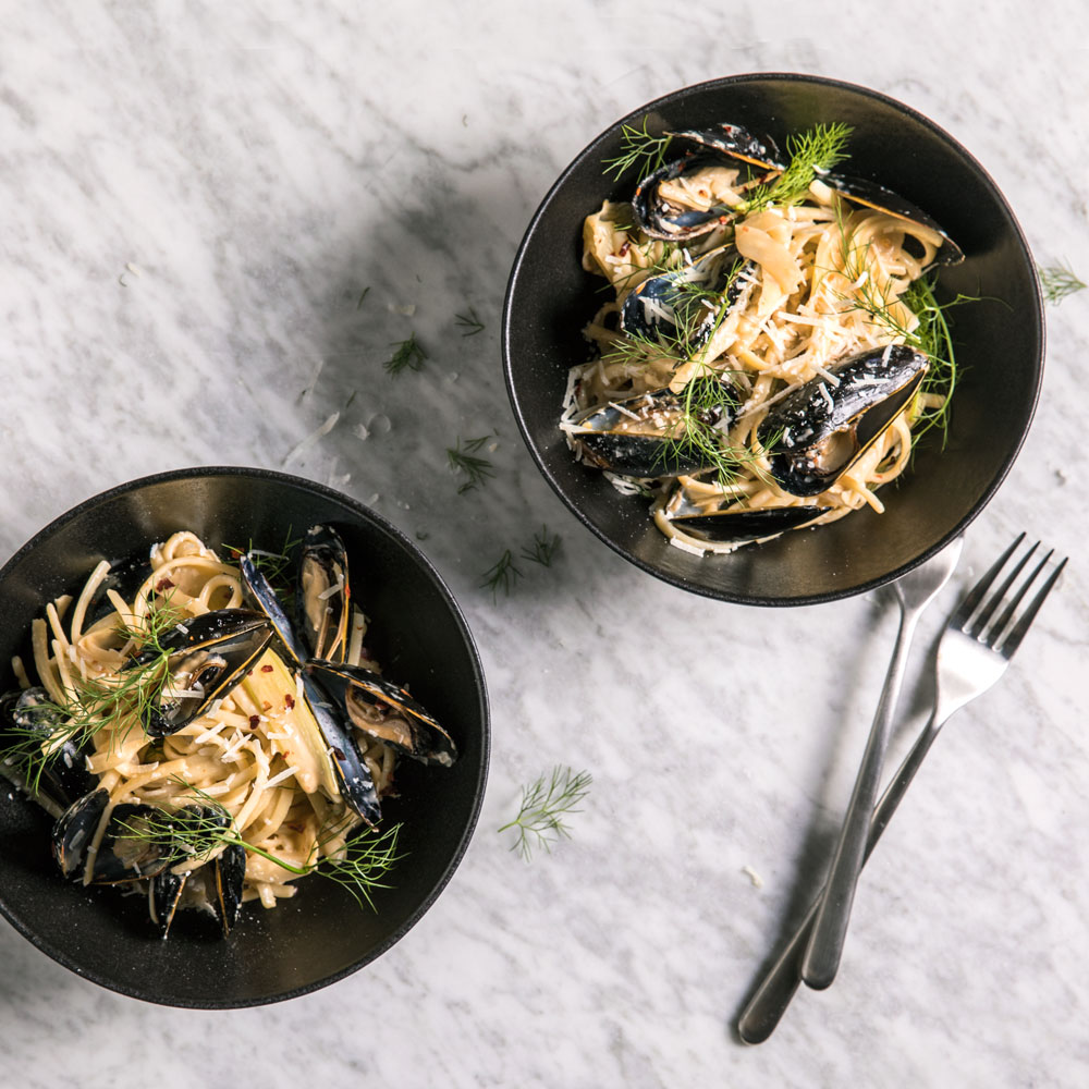 This rule-breaking pasta from chef Joshua McFadden will completely change your mind about dairy and seafood. The deeply sweet, creamy flavor of the anise-laced sauce perfectly compliments the brininess of the mussels.