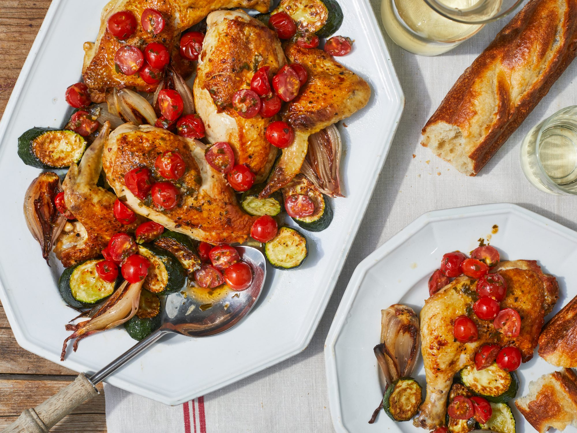 Sheet-Pan Chicken with Zucchini and Garlicky Tomato Relish