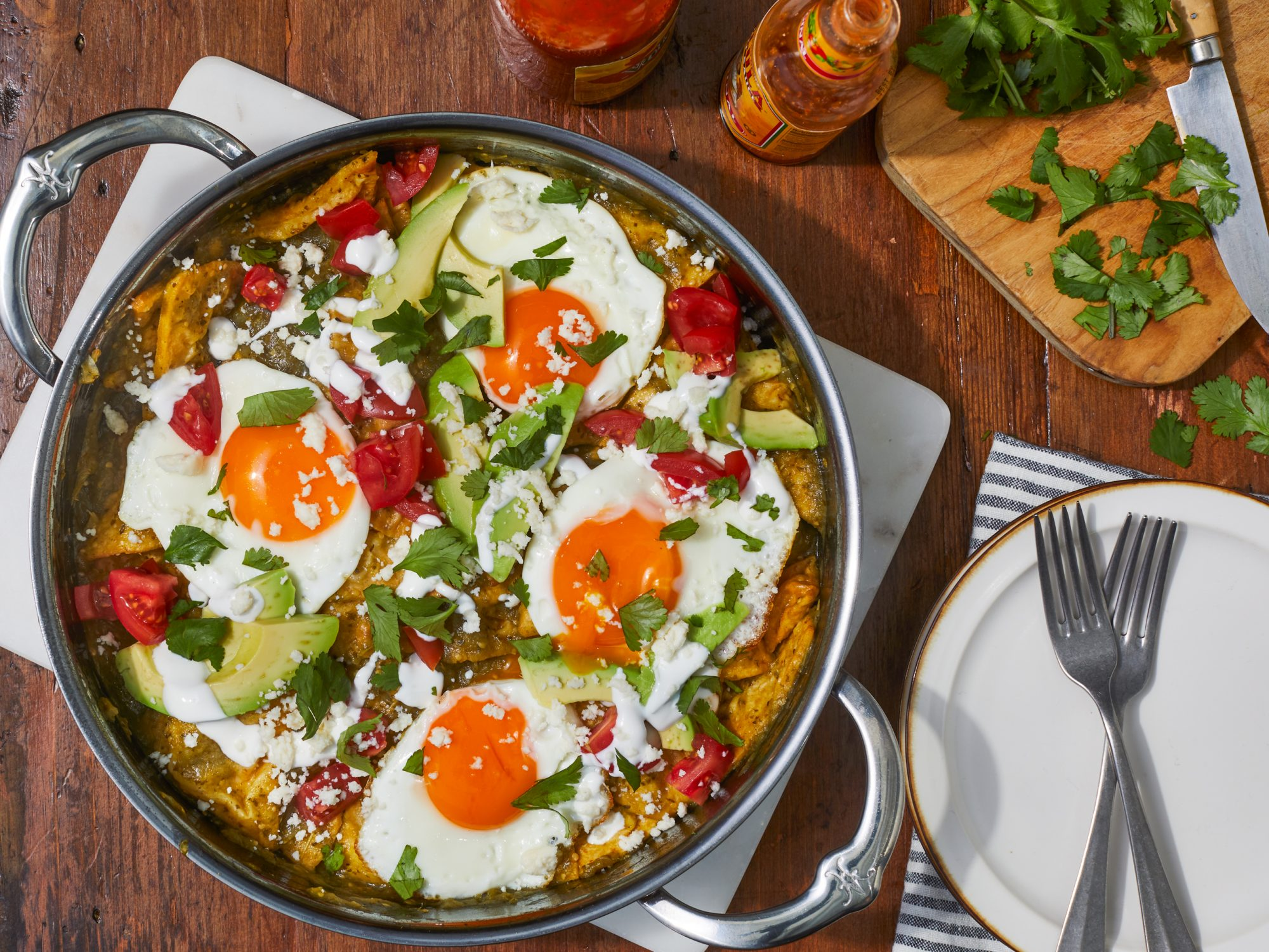 Chilaquiles with Tomatillo Salsa and Fried Eggs