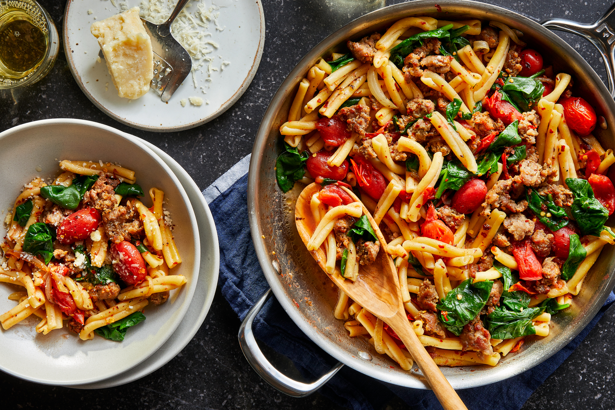 Gemelli with Sweet Sausage and Spinach