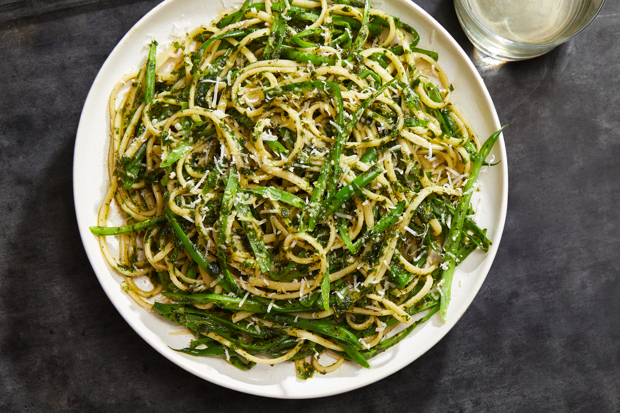 Linguine with Frenched Green Beans and Parsley Pesto Recipe