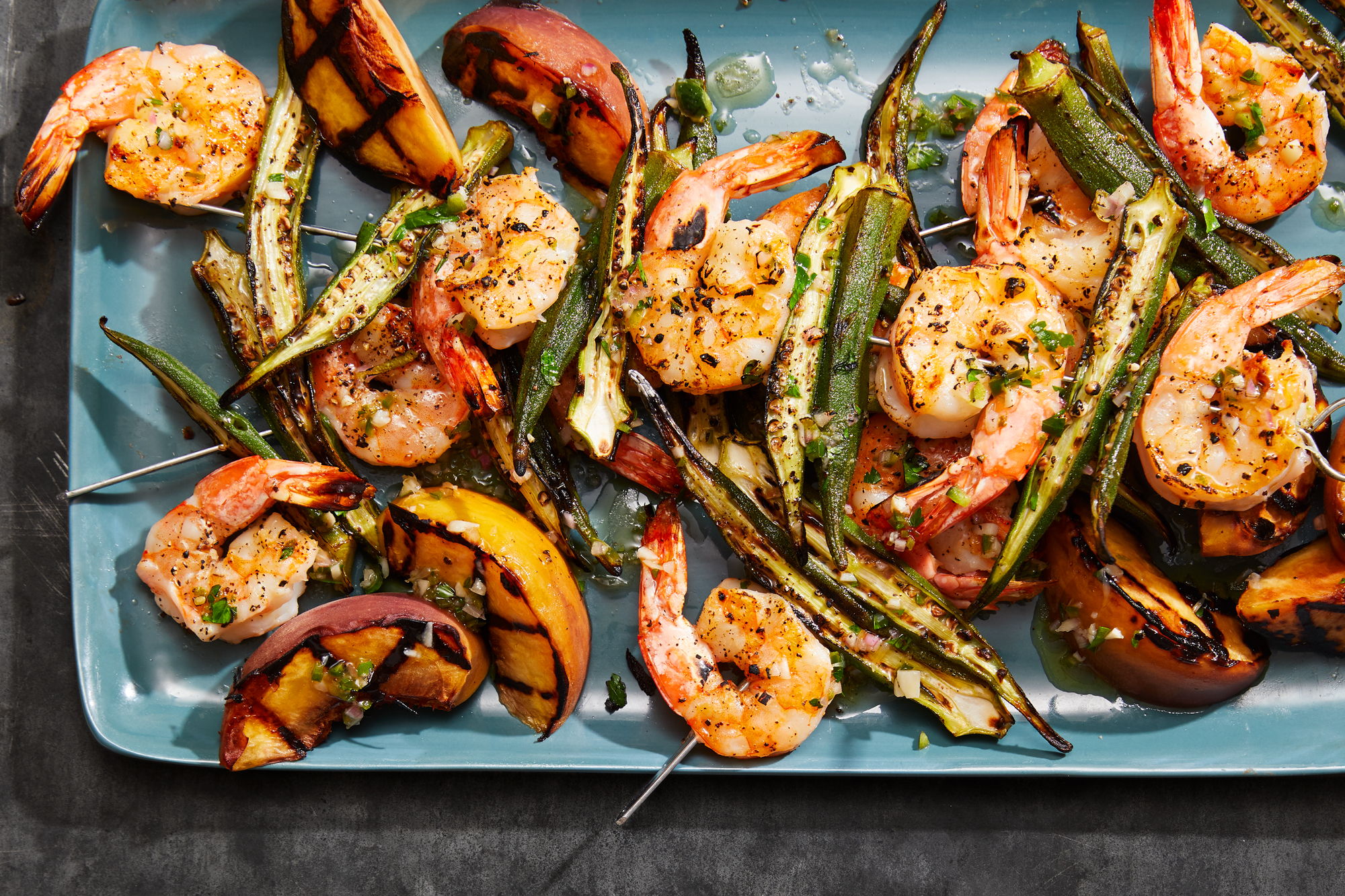 Grilled Shrimp and Okra Kababs with Peaches and Jalapeno-Bourbon Vinaigrette Recipe